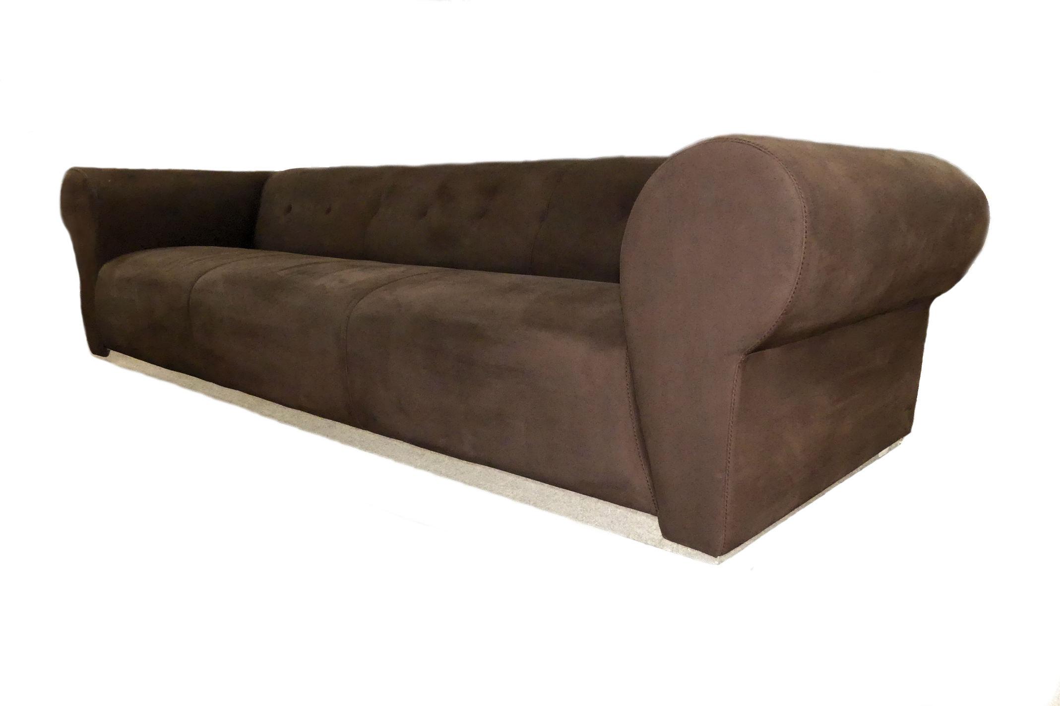 SOLD  Fendi Casa Chocolate Brown Suede Sofa
