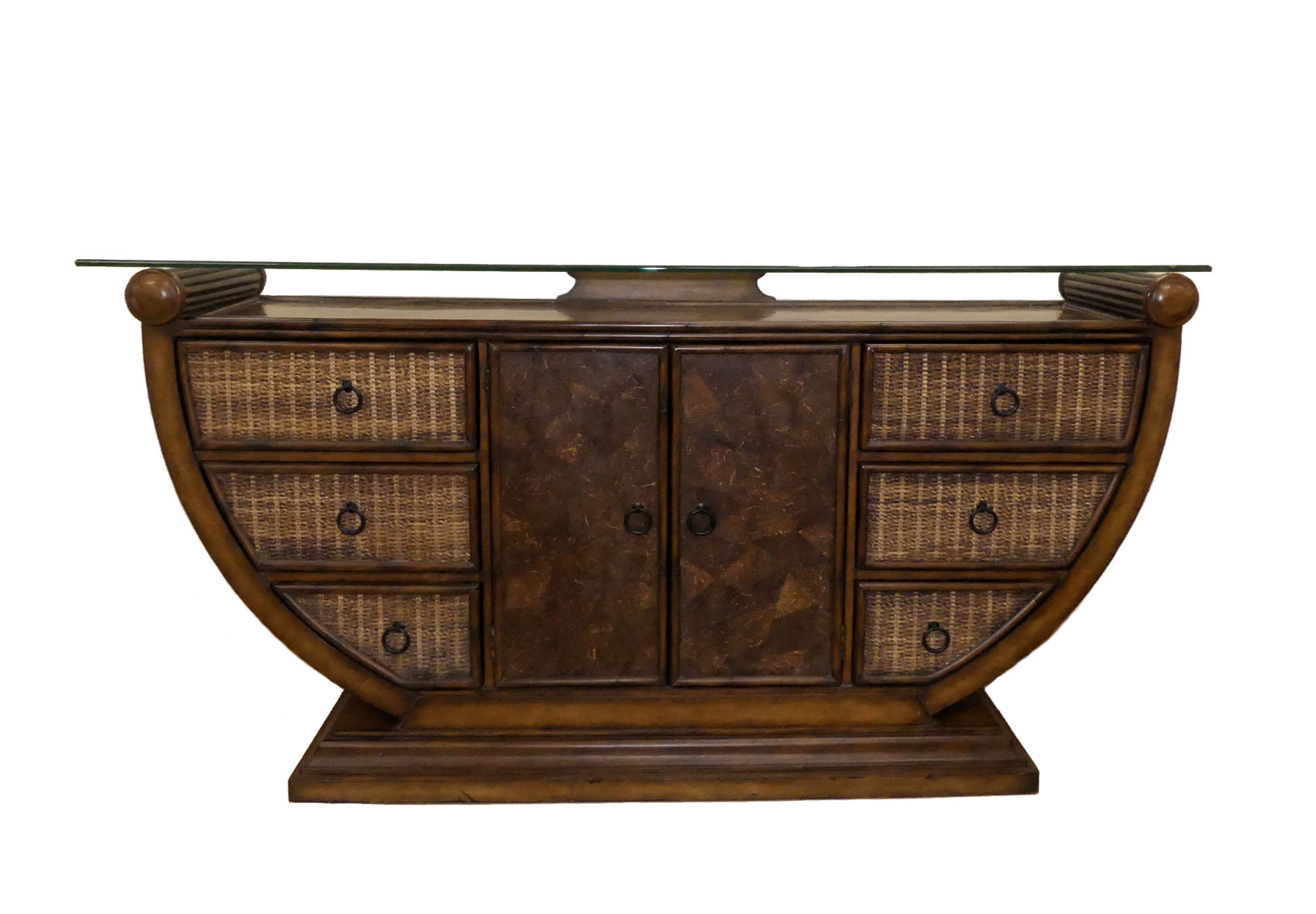 SOLD Bamboo, Woven Abaca and Coconut Shell Credenza