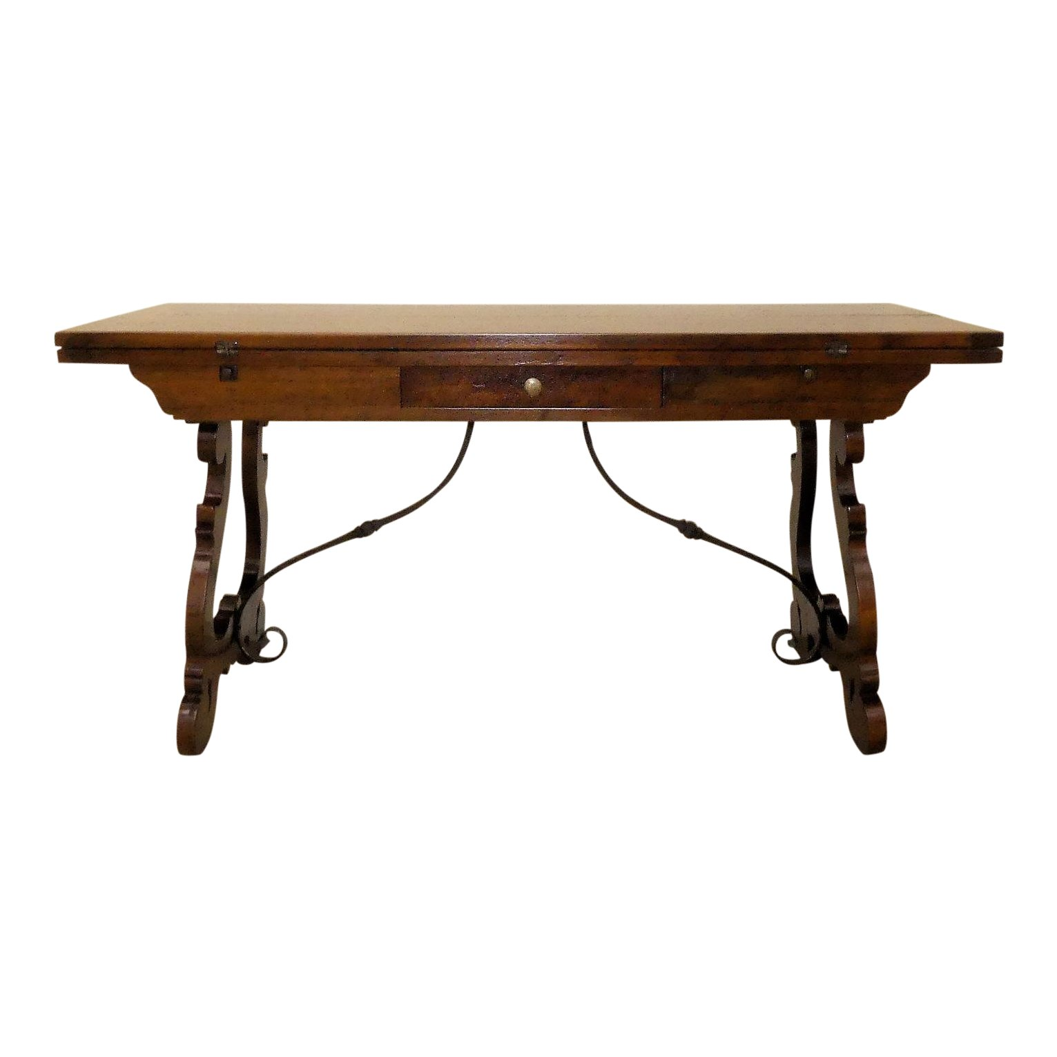 SOLD Trestle Base Flip Top Console-Dining Table or Desk