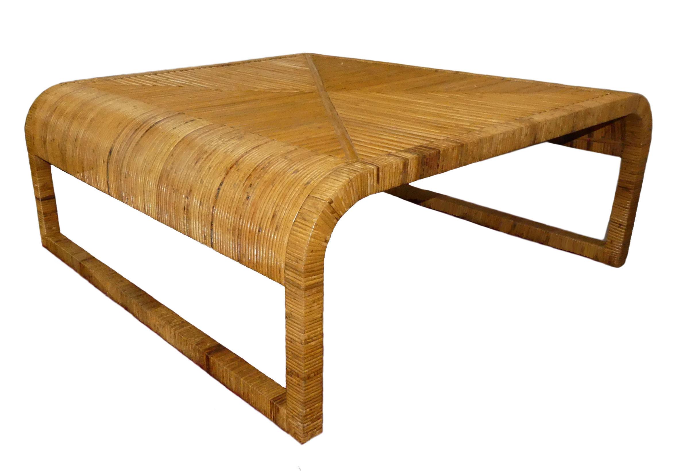 Vintage Mid-Century Modern Bamboo Waterfall Coffee Table