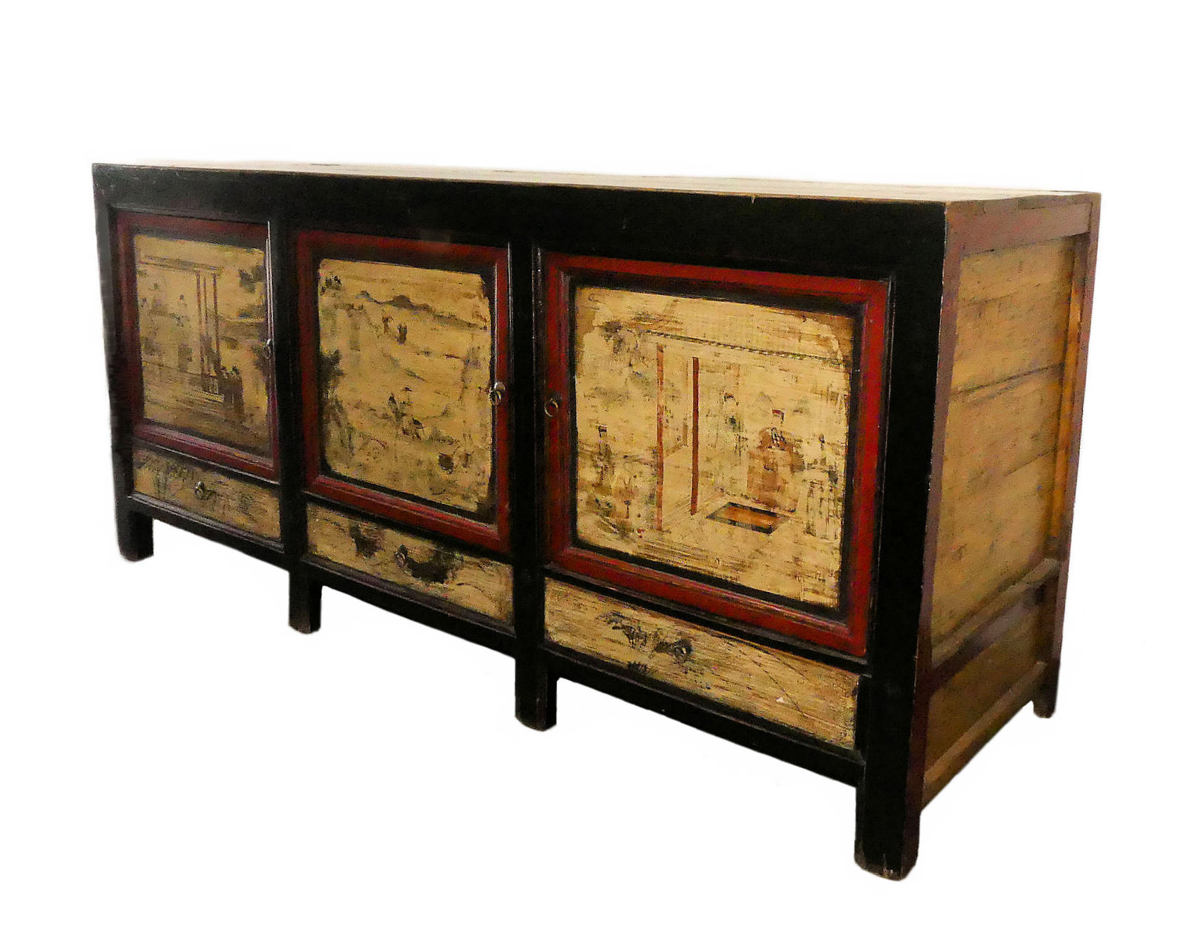 Rustic Paint Decorated Asian Chinoiserie Credenza