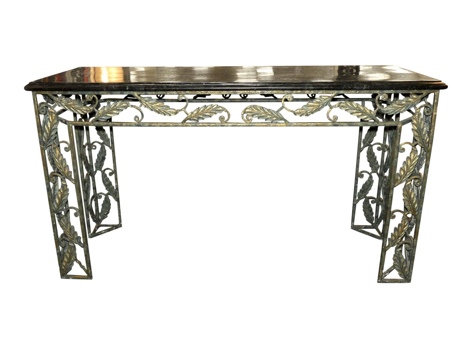 Maitland Smith Marble Top Iron Console Table