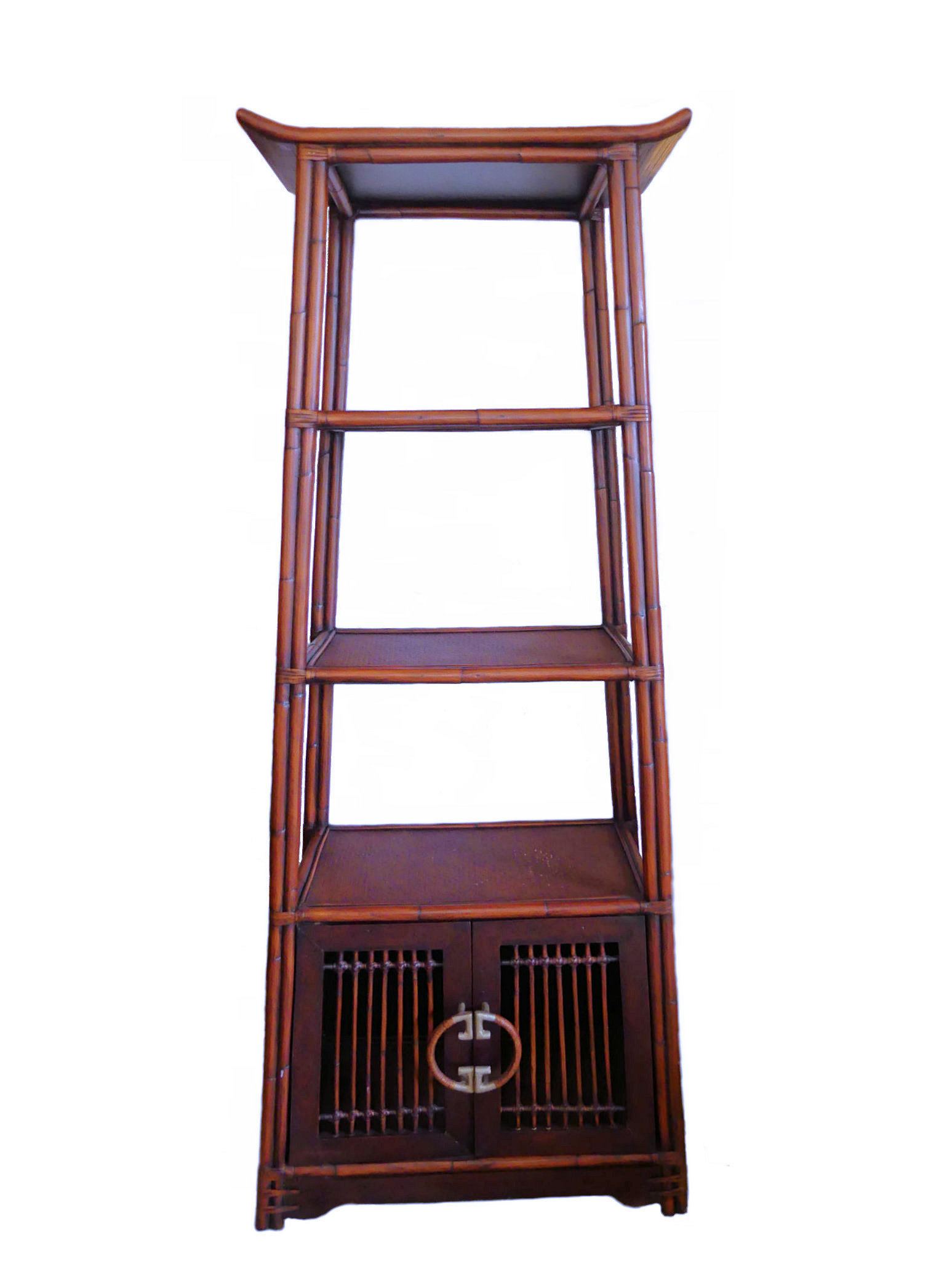 SOLD Palecek Asian Ming Style Bamboo & Rattan Etagere