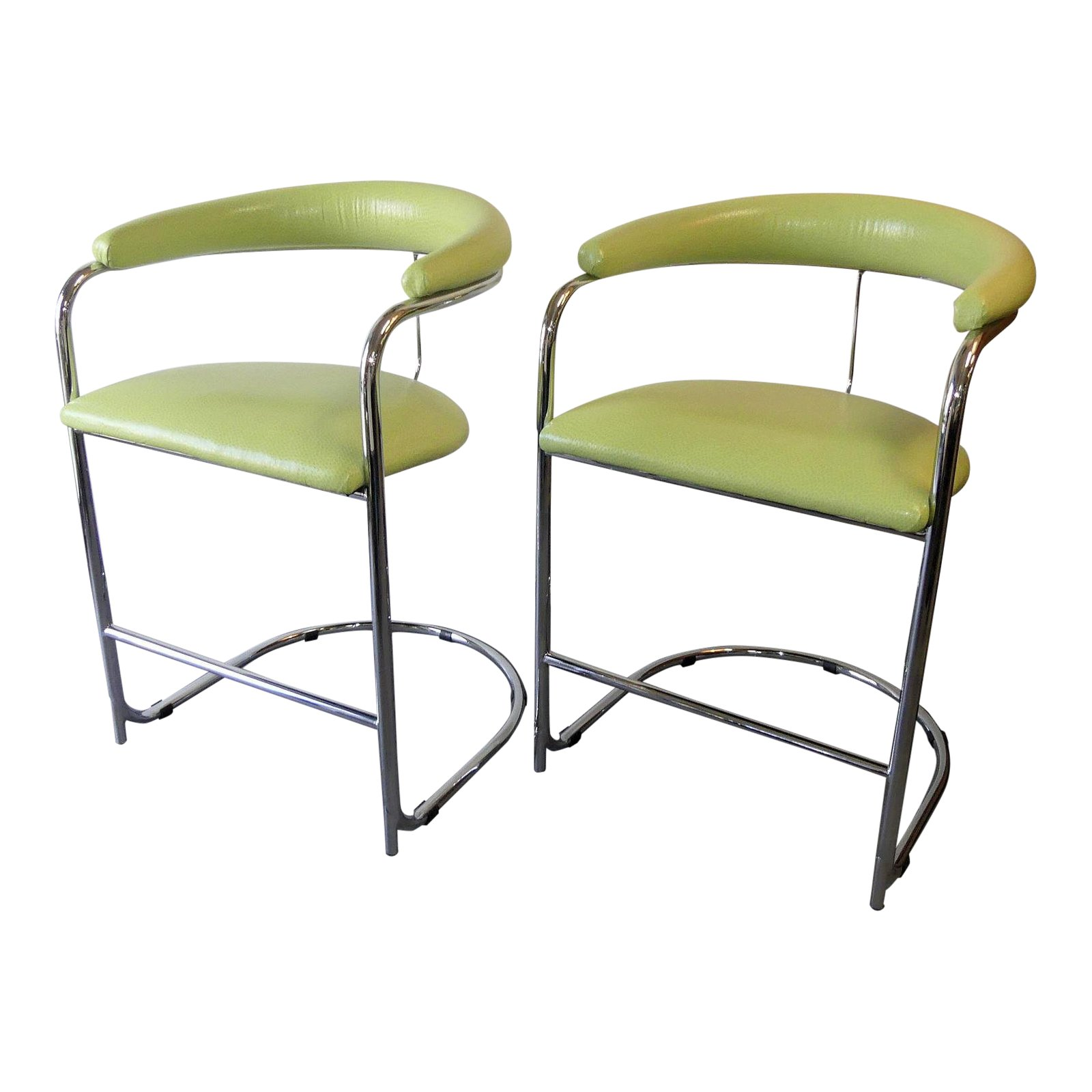 SOLD Pair of 2 Anton Lorenz for Thonet Tubular Chromed Steel Counter Stools