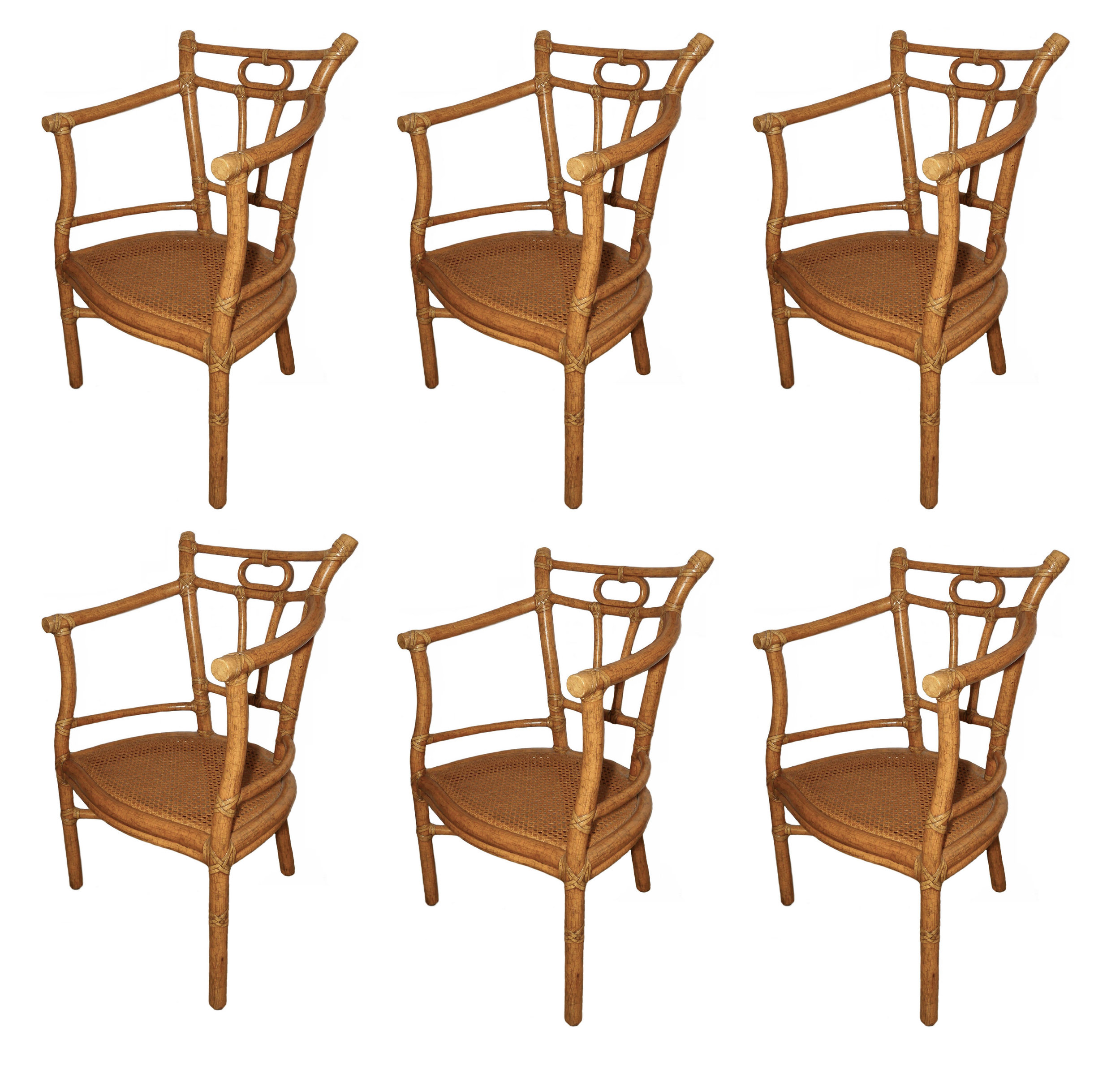 SOLD Vintage McGuire Dining Armchairs