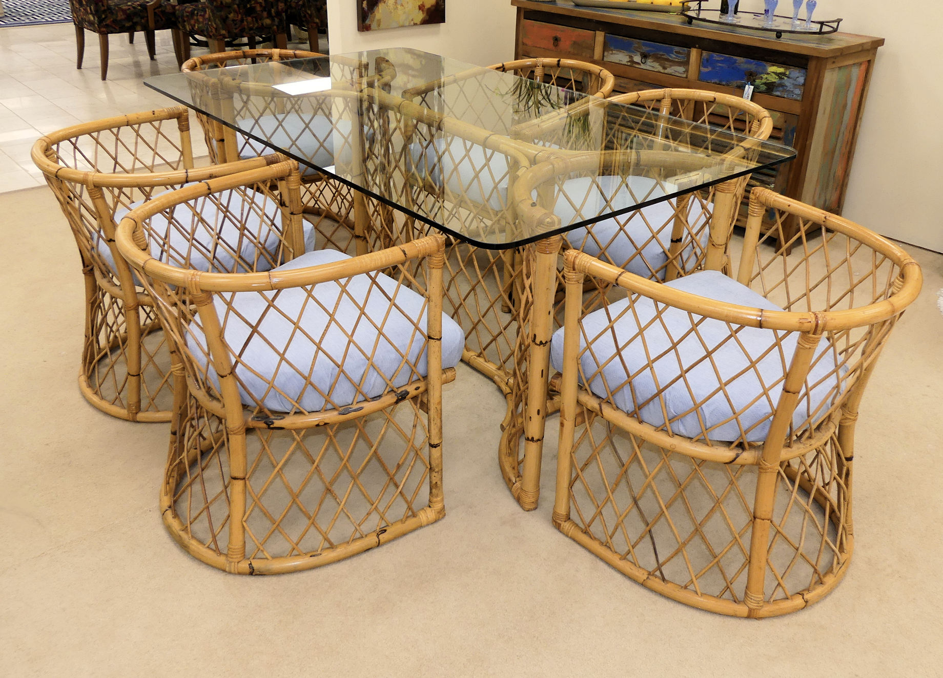 SOLD Vintage Rattan Dining Set