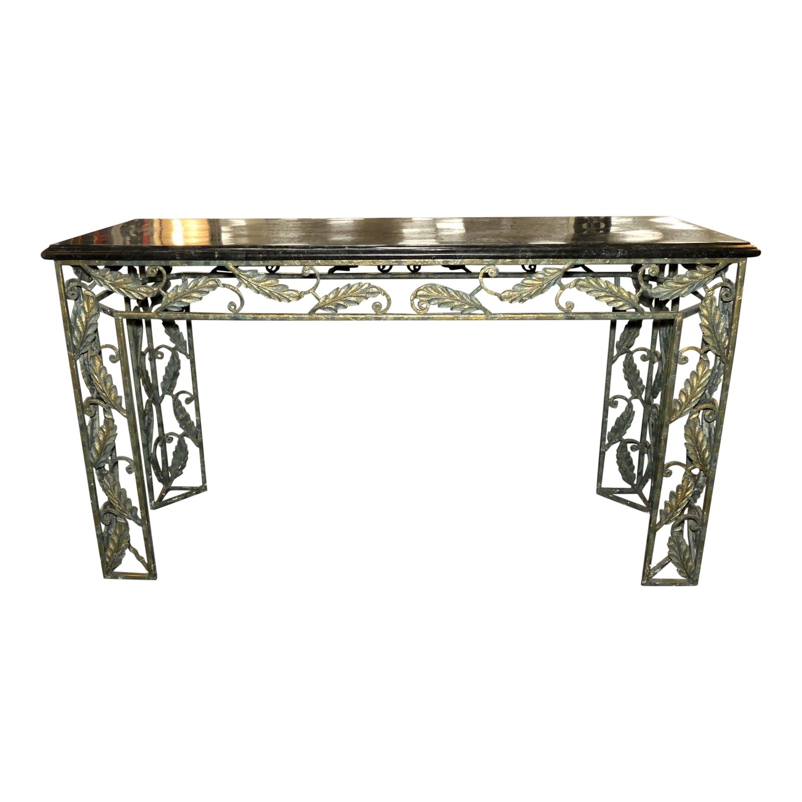 Maitland Smith Marble Top Iron Console with Patina Finish