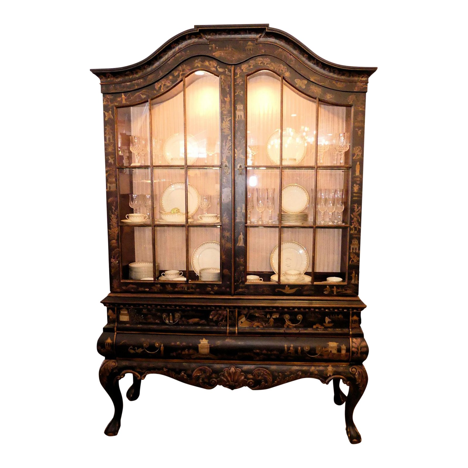 SOLD   Drexel Heritage Painted Asian Chinoiserie China Cabinet