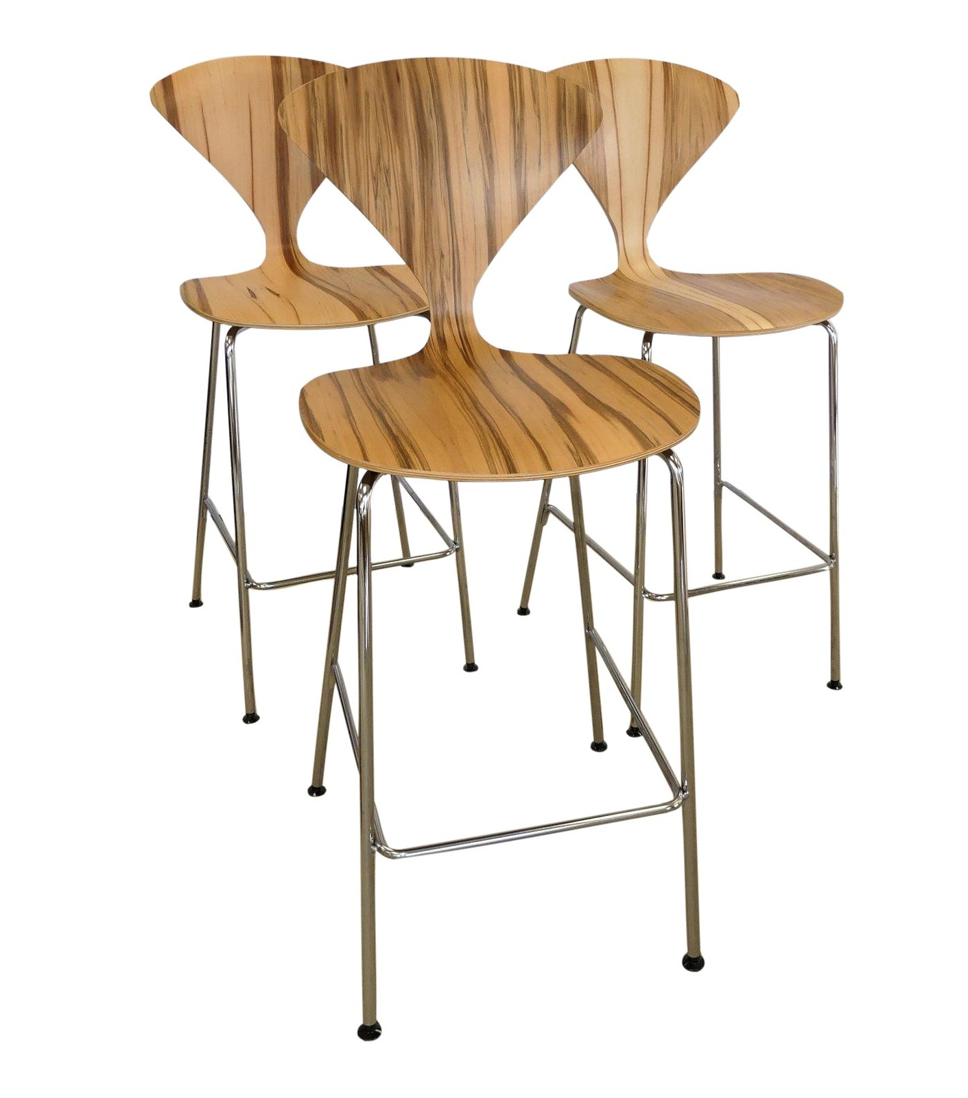SOLD Set of 3 Norman Cherner Metal Leg Counter Stools