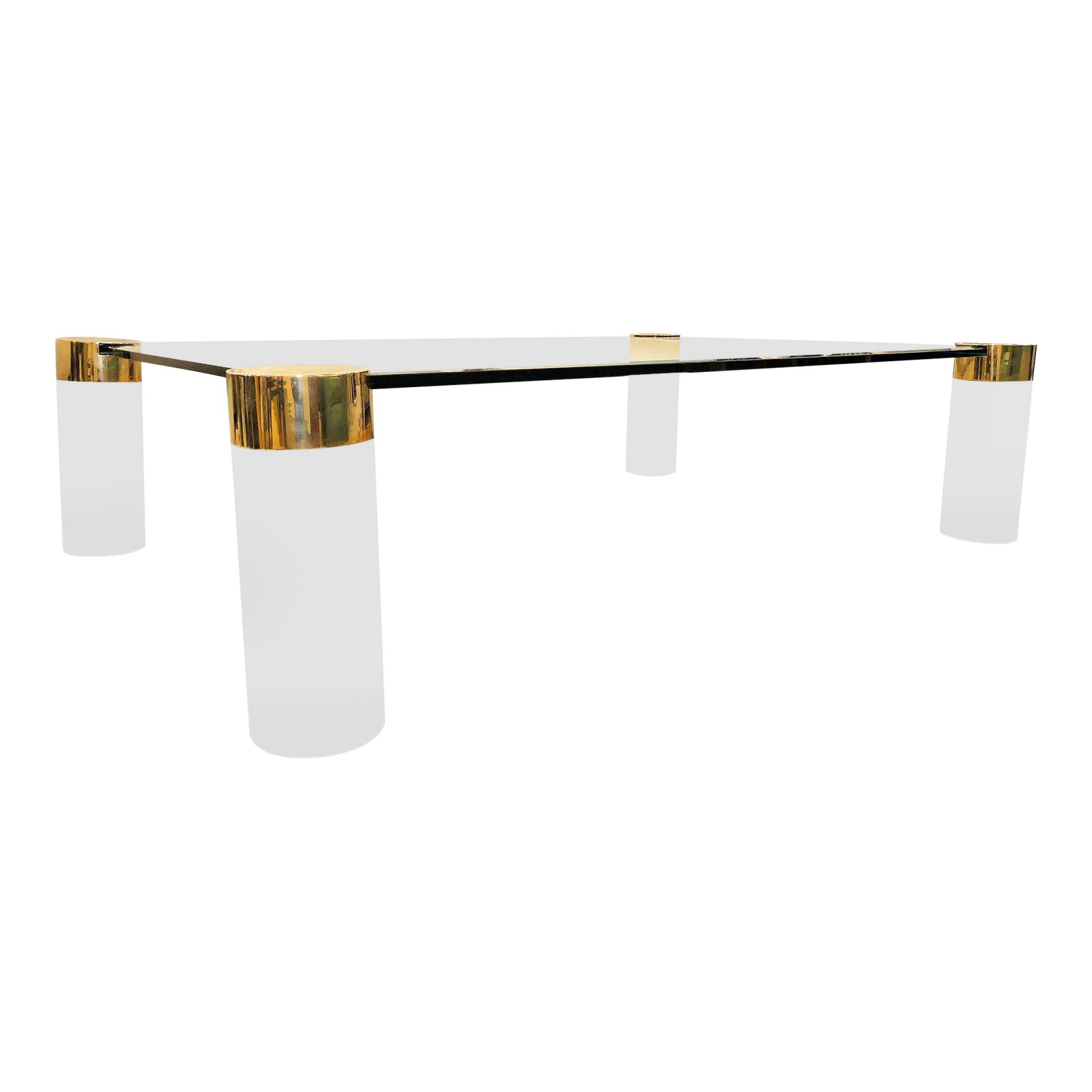 SOLD Lion in Frost Coffee Table with 4 Columnar Lucite and Brass Legs