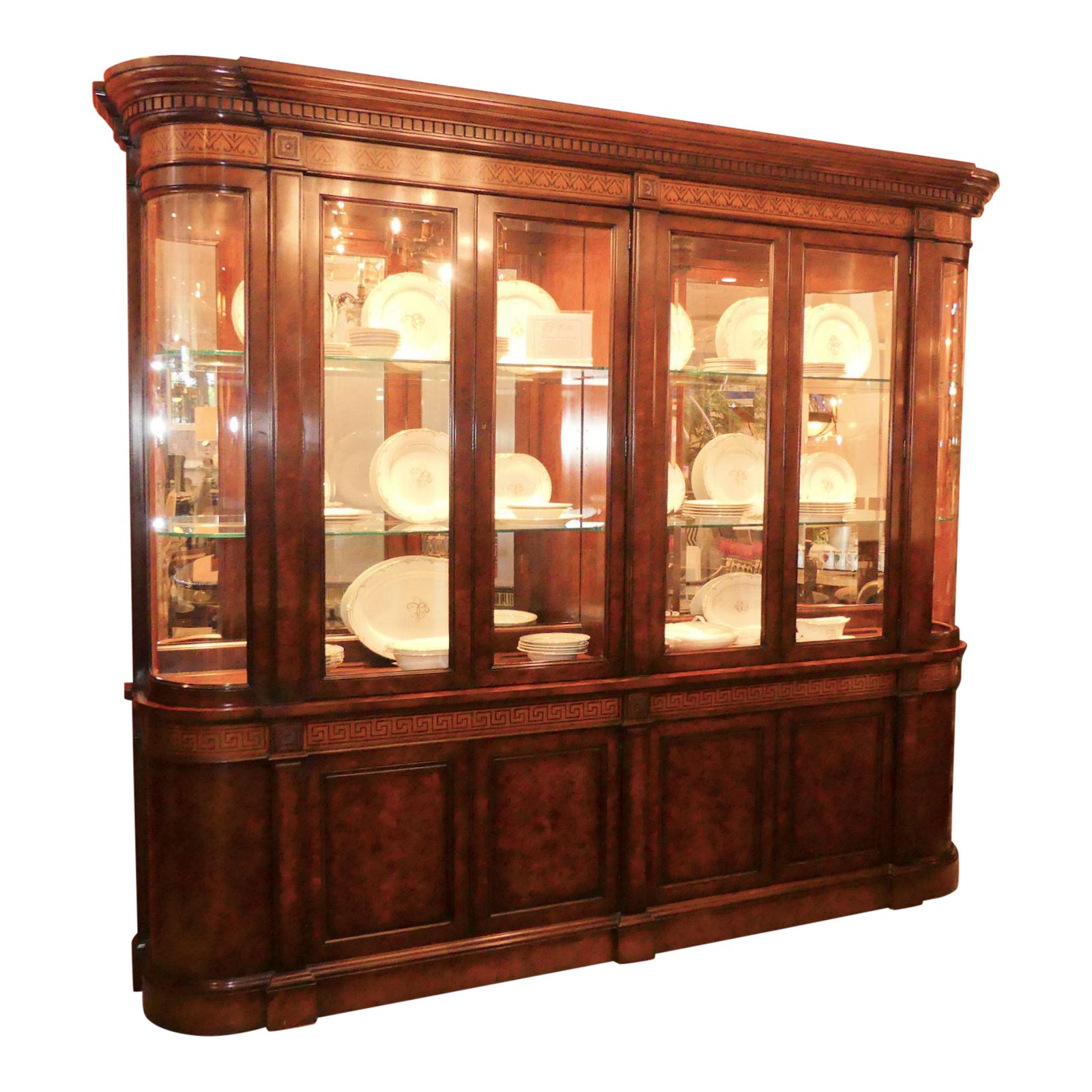Traditional Walnut Burl Wood Lighted China Cabinet with Greek Key Inlay