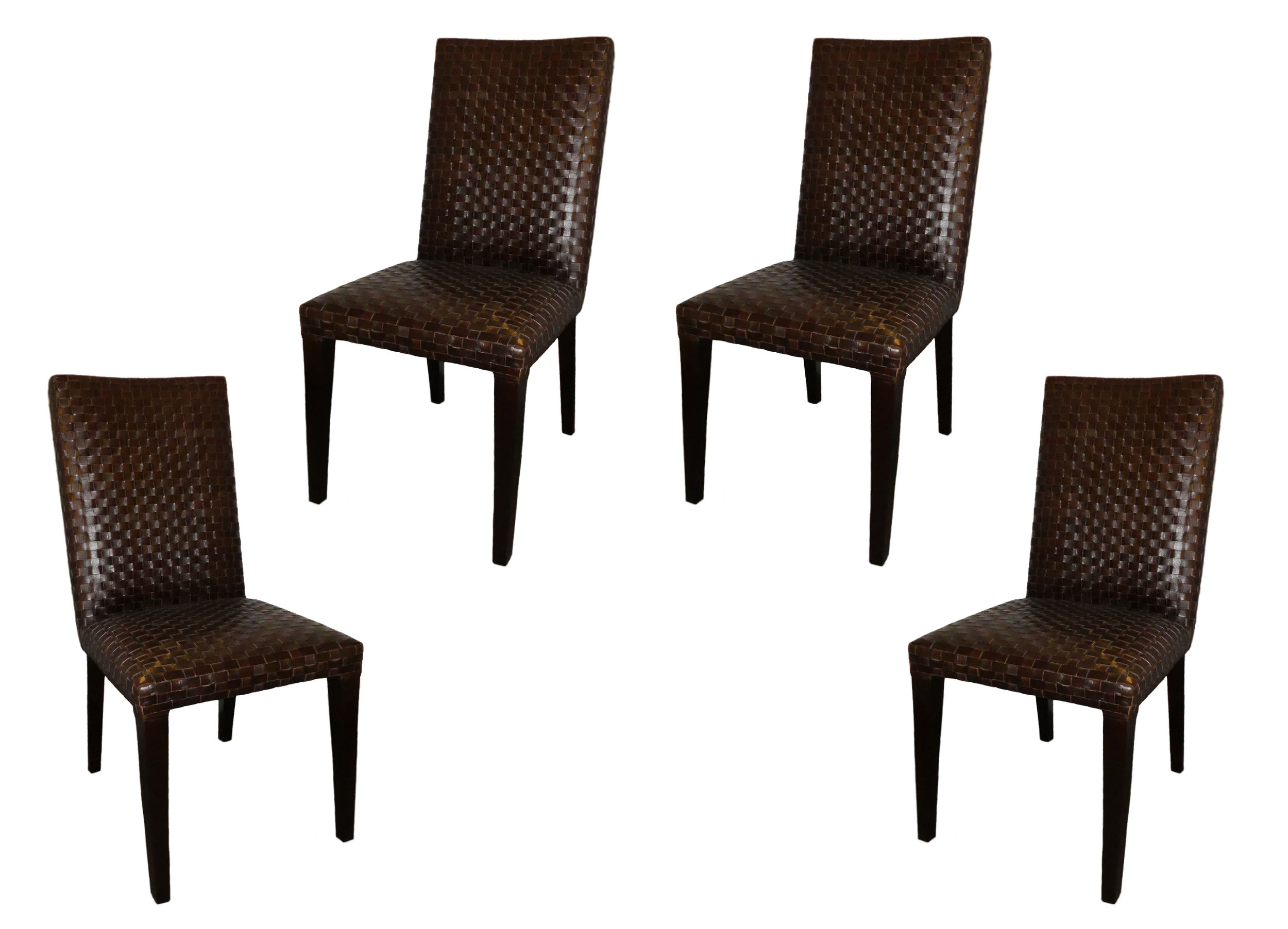 Stone International Italian Woven Leather Dining Chairs