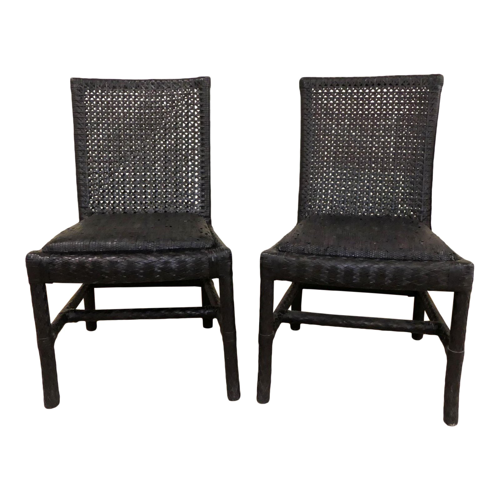 SOLD Oggetti Woven Leather Side Chairs