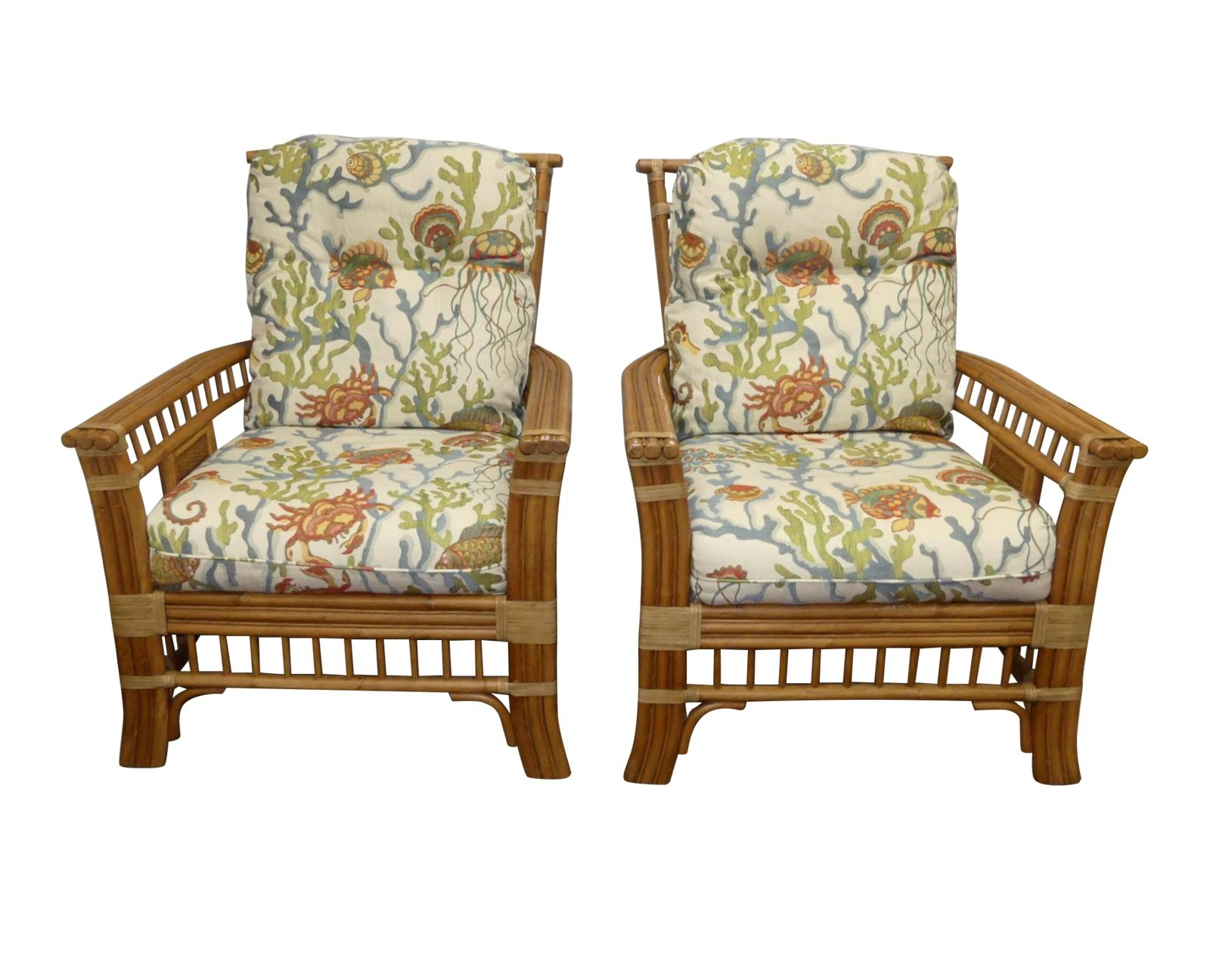 Pair of 2 Coastal Creations Rattan Armchairs with High-End Embroidered Crewel Fabric