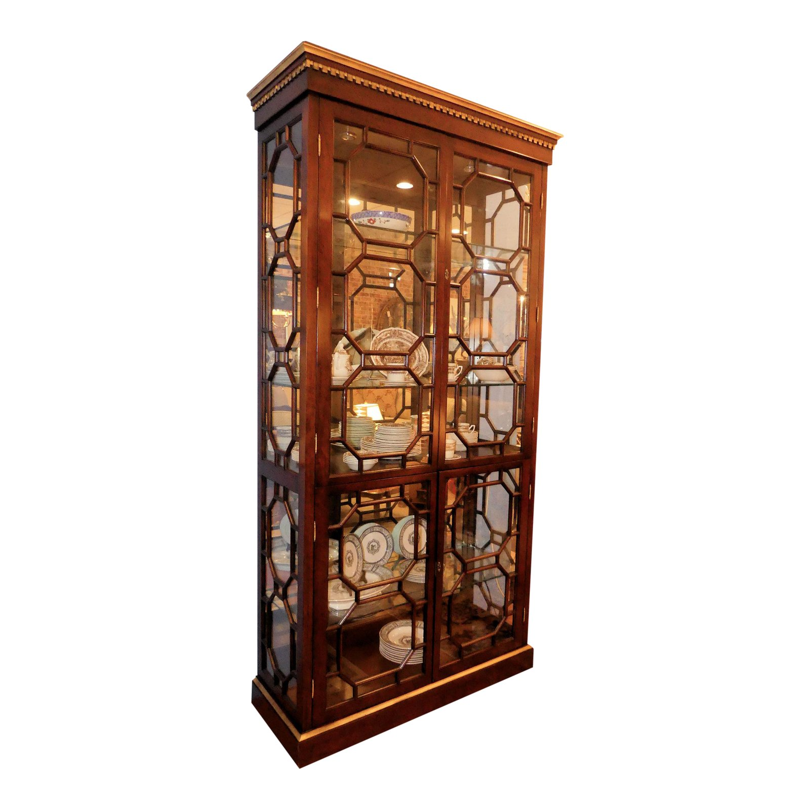 Contemporary Lighted China Curio Display Cabinet with Fretwork