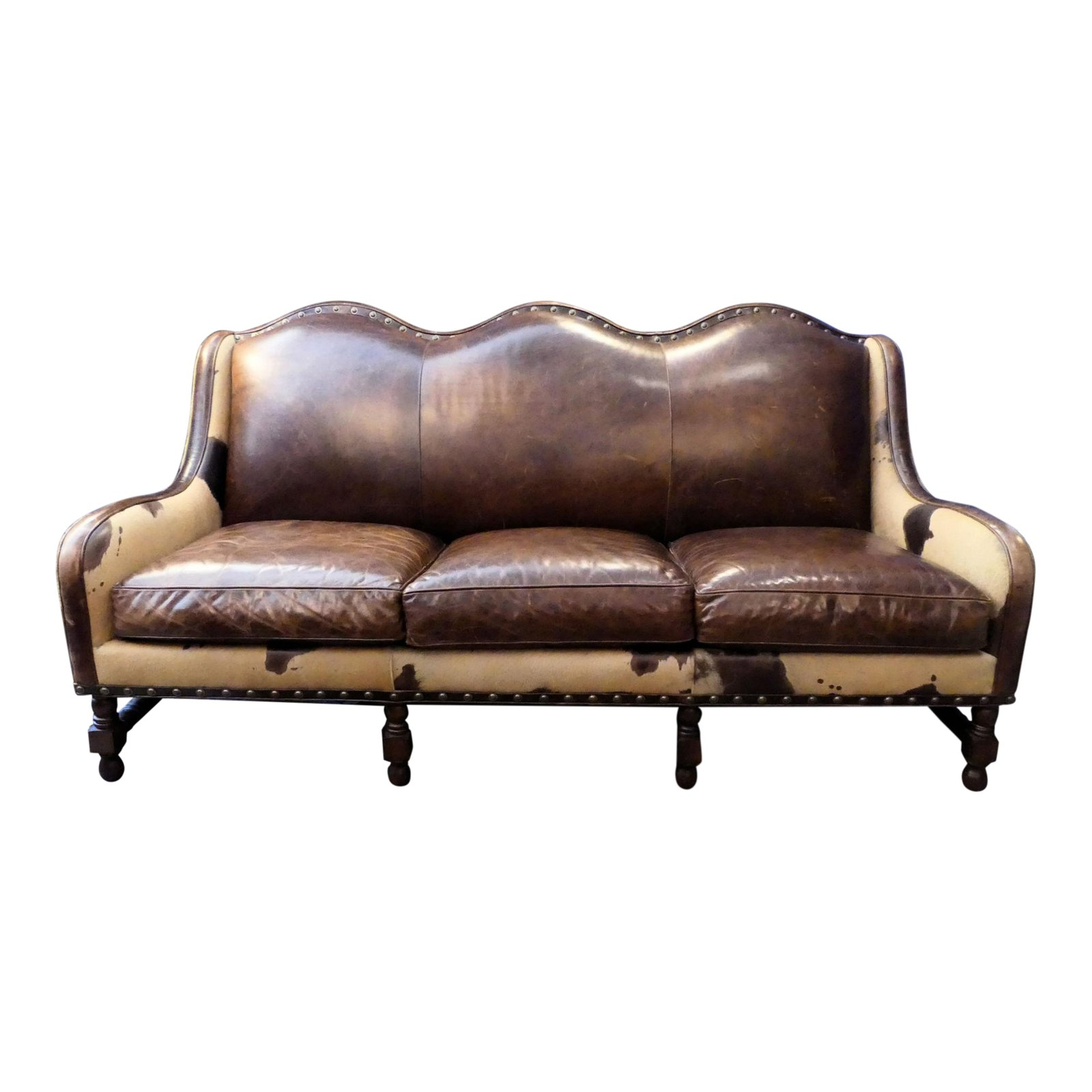 SOLD Hancock and Moore Rustic Leather and Hair-On Hide Sofa