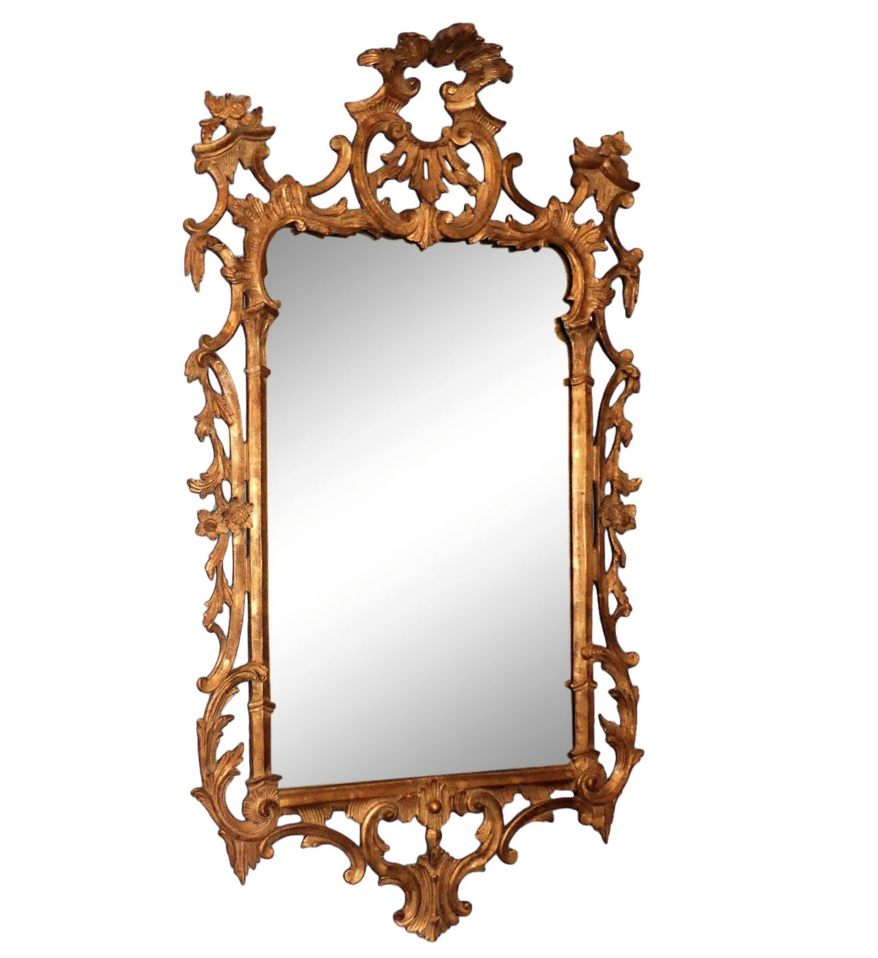 Antique Carved Wood and Distressed Gold Leaf Mirror 32x57 $1,995