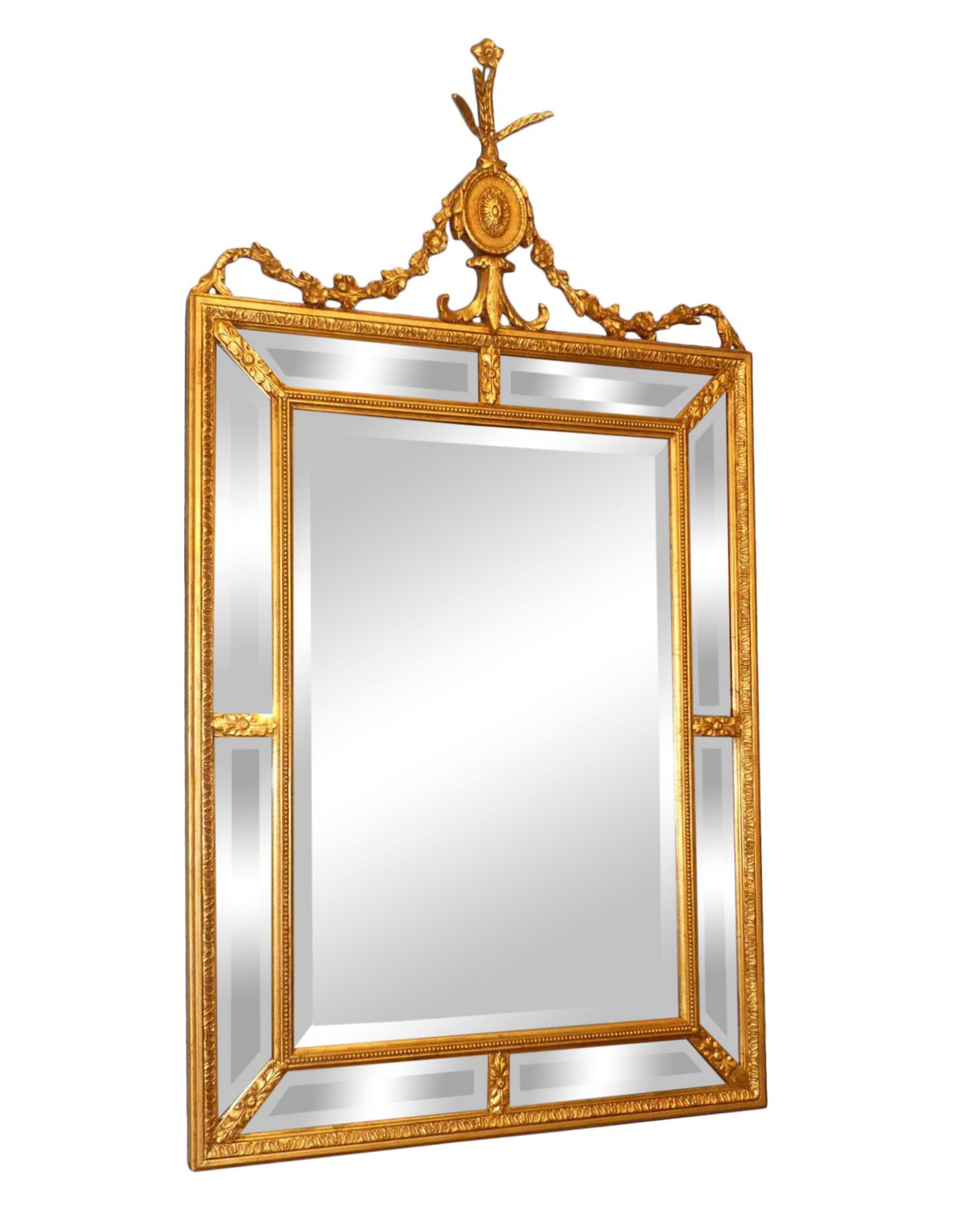 Giltwood Mirror with Beveled Mirror Panels 32x58 $795