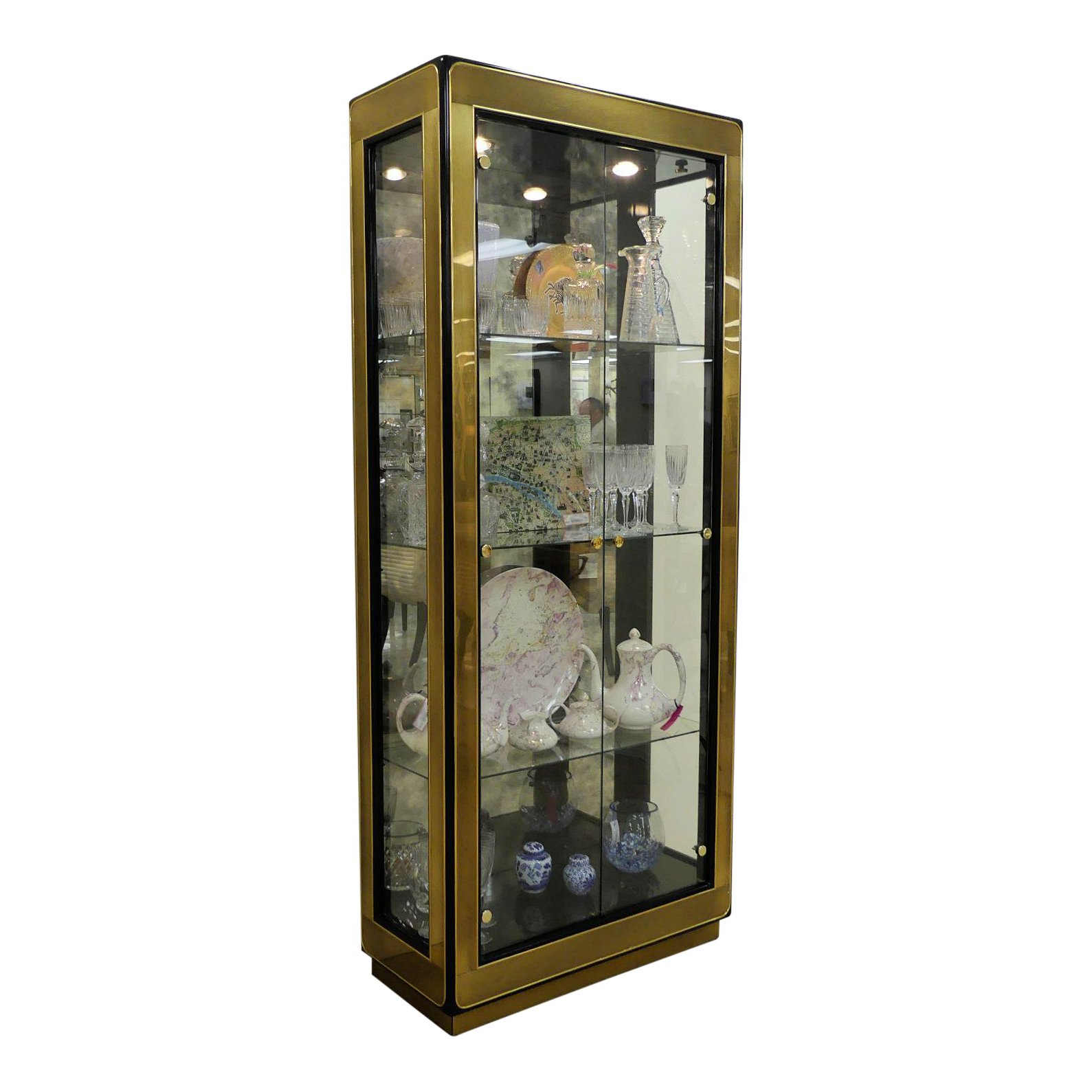 SOLD Mastercraft Lighted Curio Display Cabinet