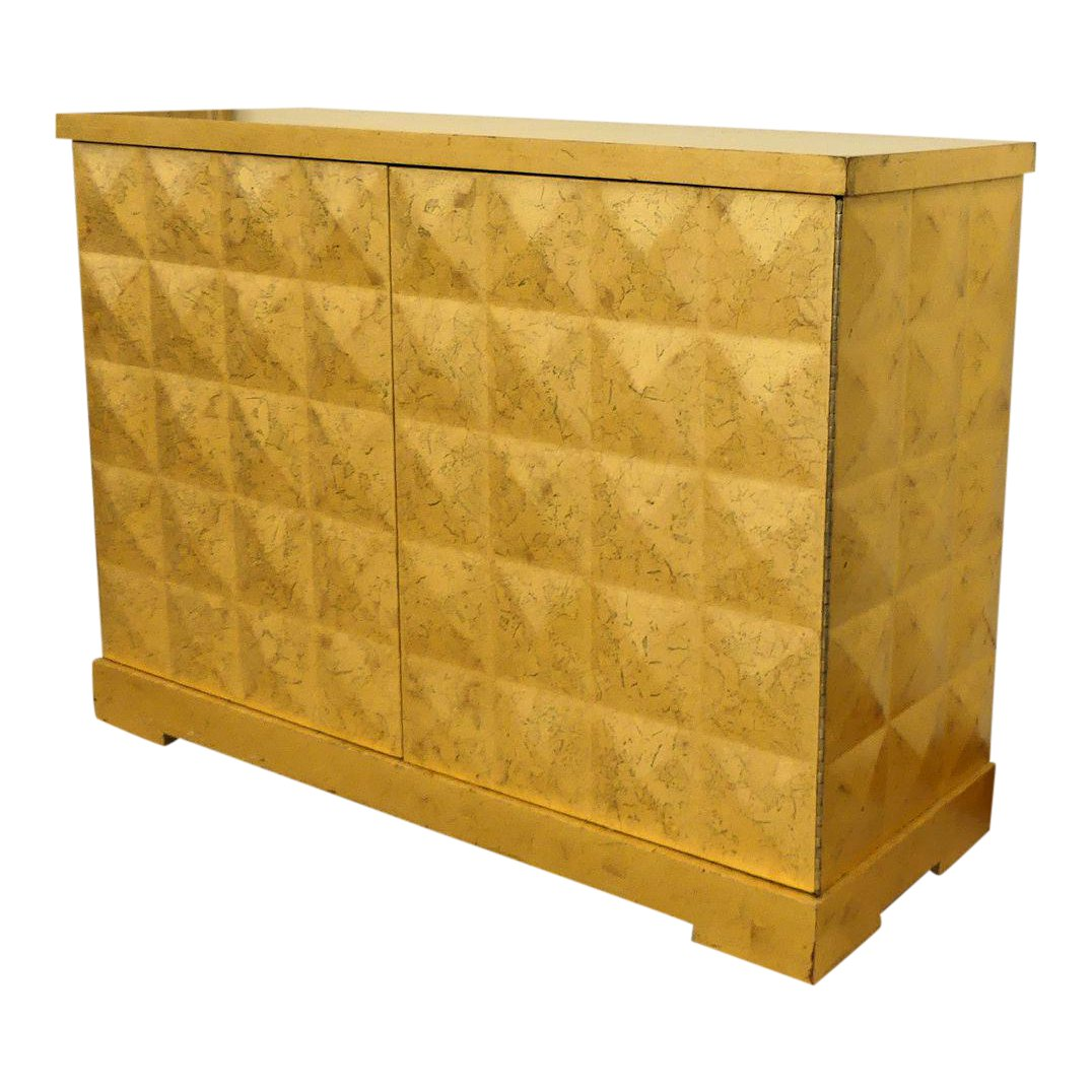 SOLD Baker Barbara Barry Gold Leaf Diamond Cabinet