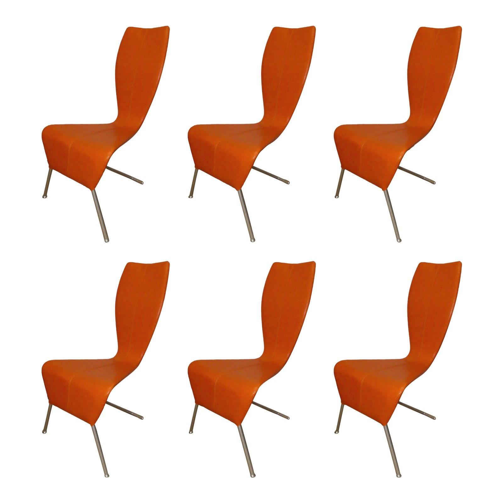 SOLD  Set of 6 Modern Tangerine Orange Dining Chairs