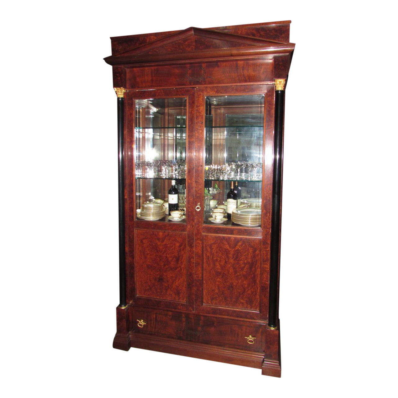 Italian Biedermeier Mahogany Lighted China Cabinet Showroom Floor Sample