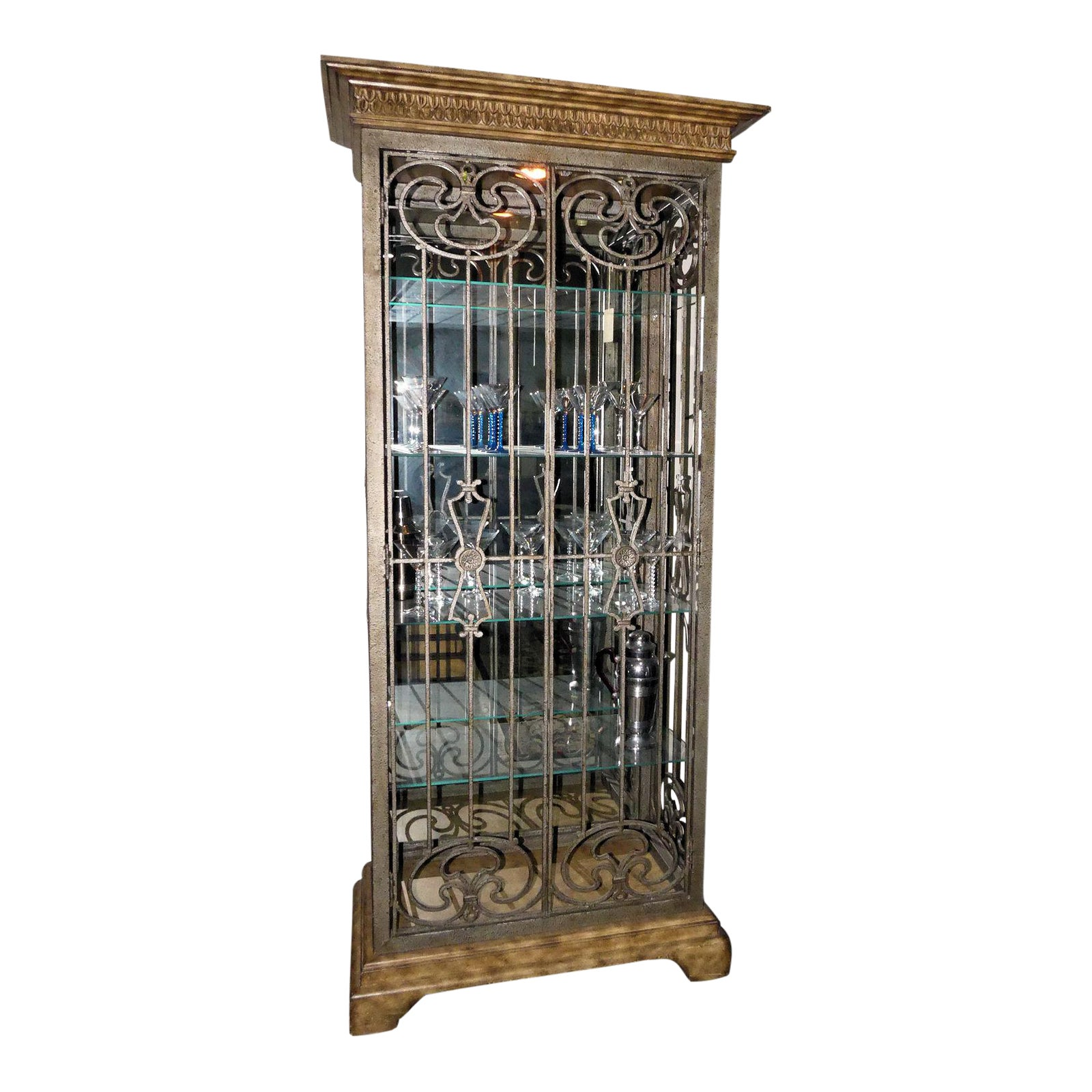 Lighted Curio Cabinet with Scrolled Iron Doors and Sides