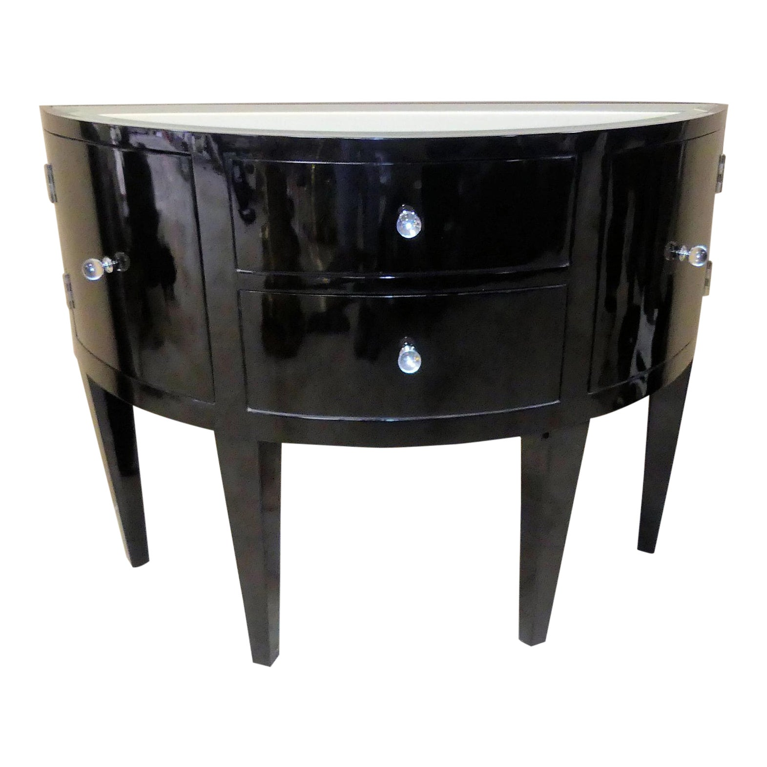 Black Lacquered Demilune Cabinet Showroom Display Model