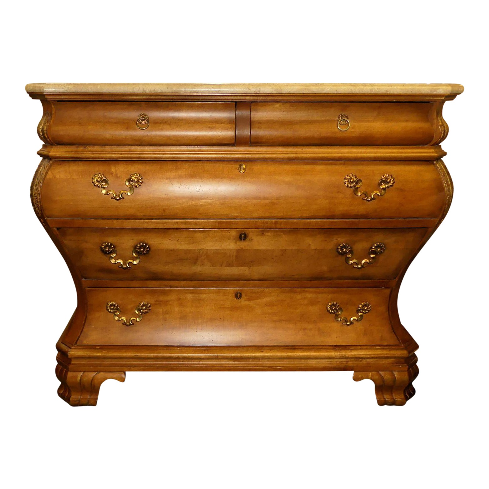 Century Furniture Marble Top Bombe Master Chest of Drawers