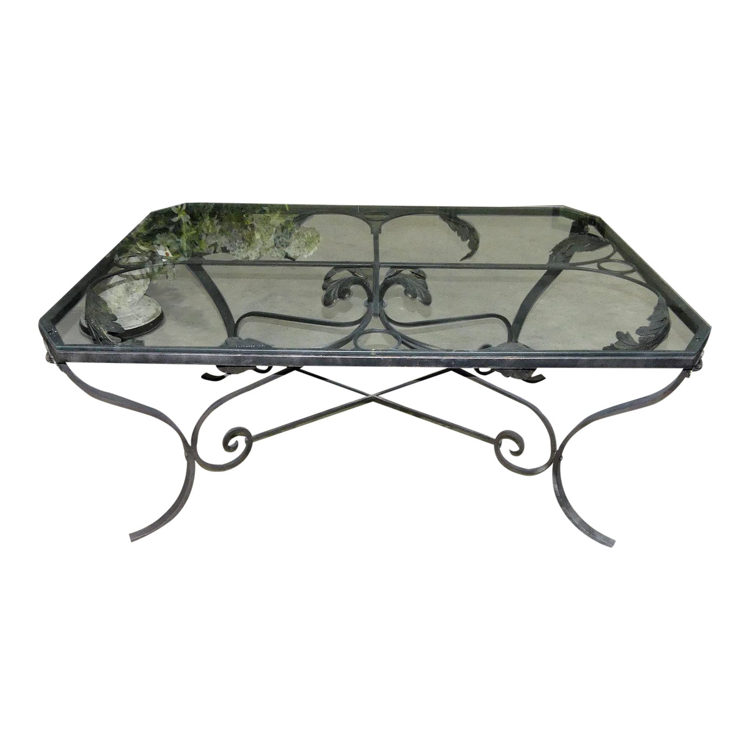 Beautiful Iron Cocktail or Coffee Table with Glass Top