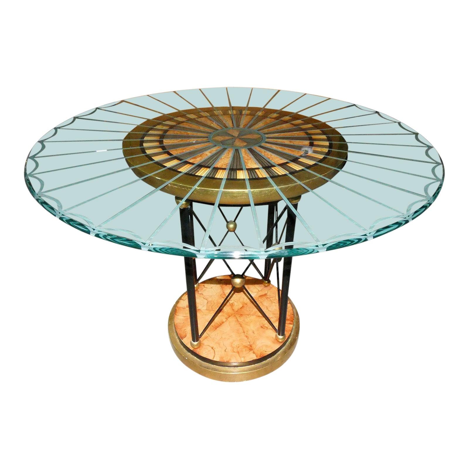 Art Deco Glass Top Pedestal Table