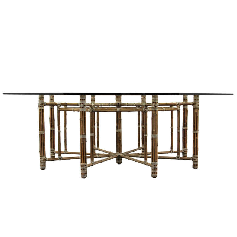 McGuire Octagonal Bamboo and Laced Rawhide Dining Table