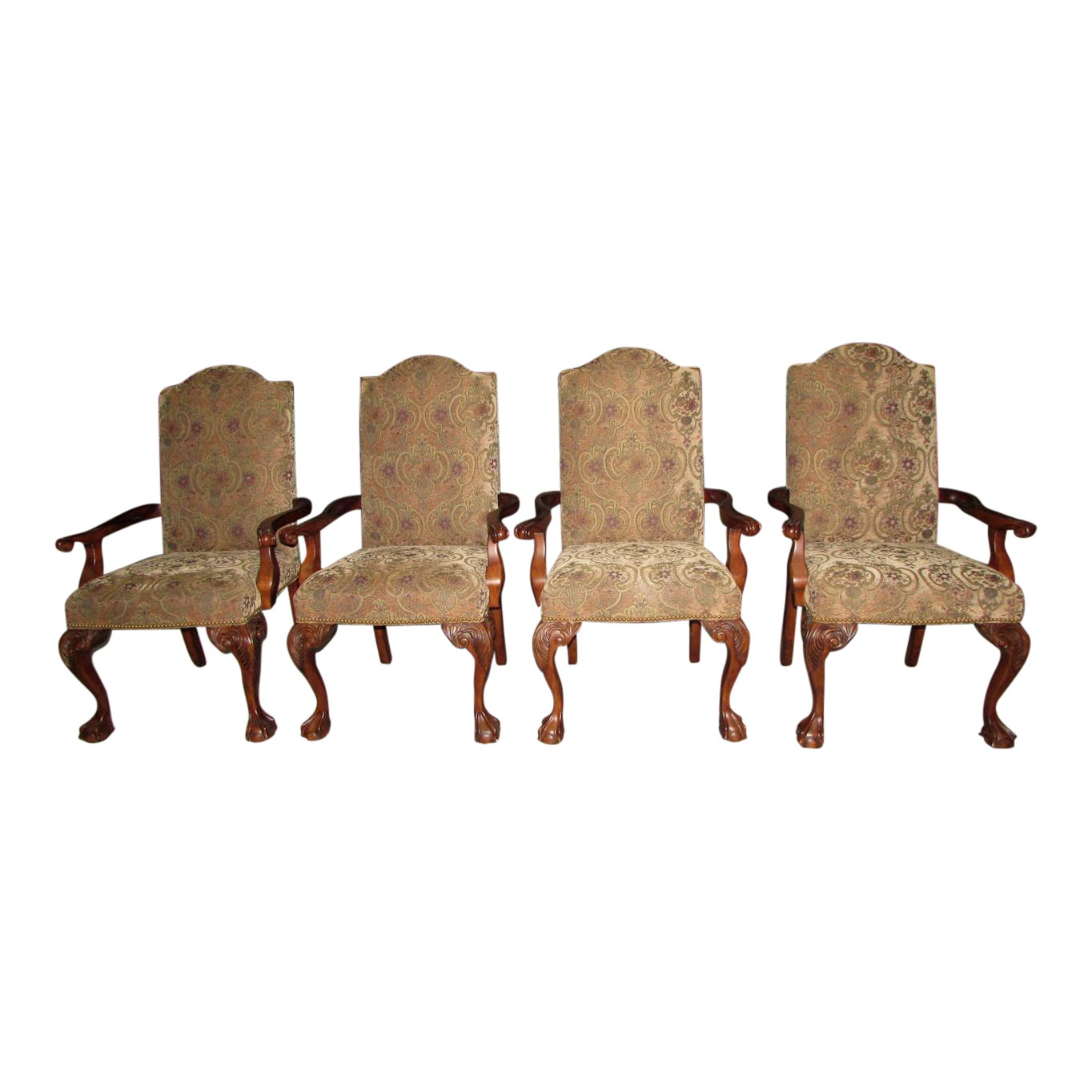 SOLD Set of 4 Hooker Lisabeth Chippendale Style Arm Chairs