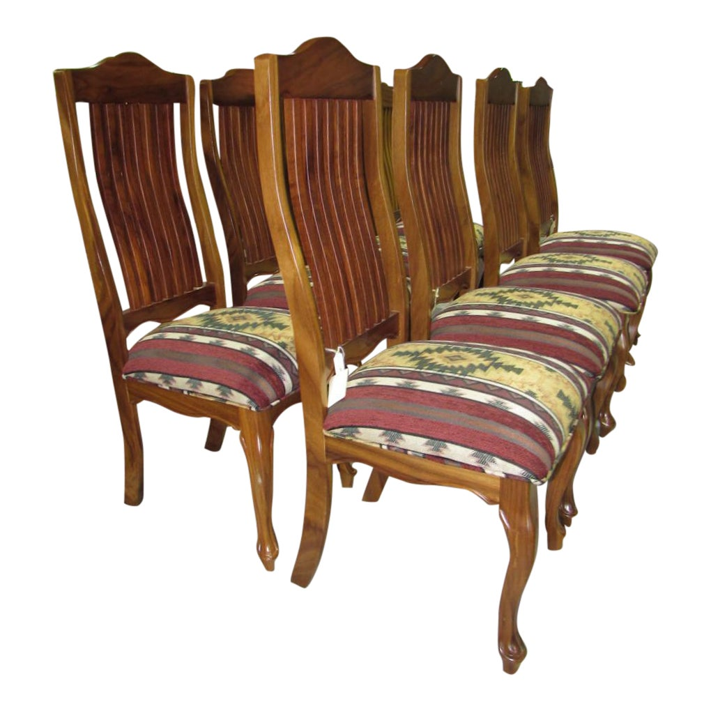 Set of 8 Southwest Style Teak Fininsh Dining Chairs Showroom Floor Sample