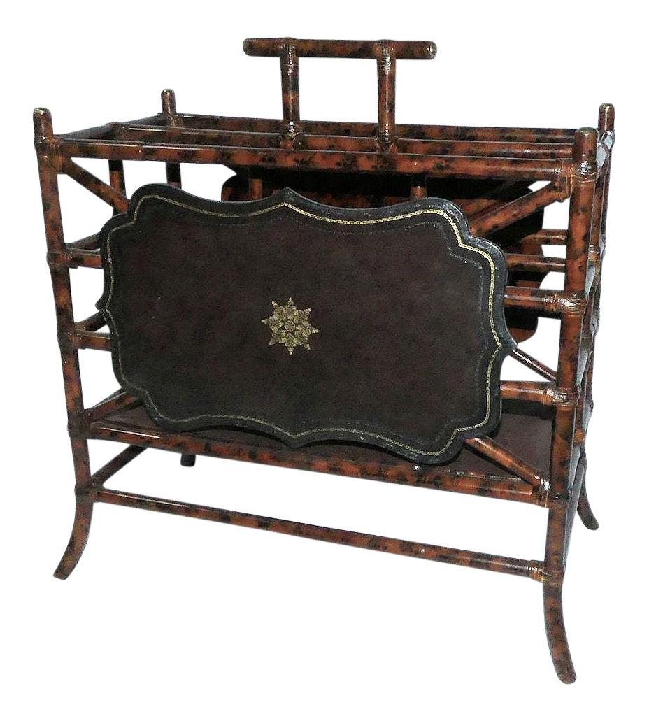 Maitland Smith Bamboo & Leather Magazine Rack