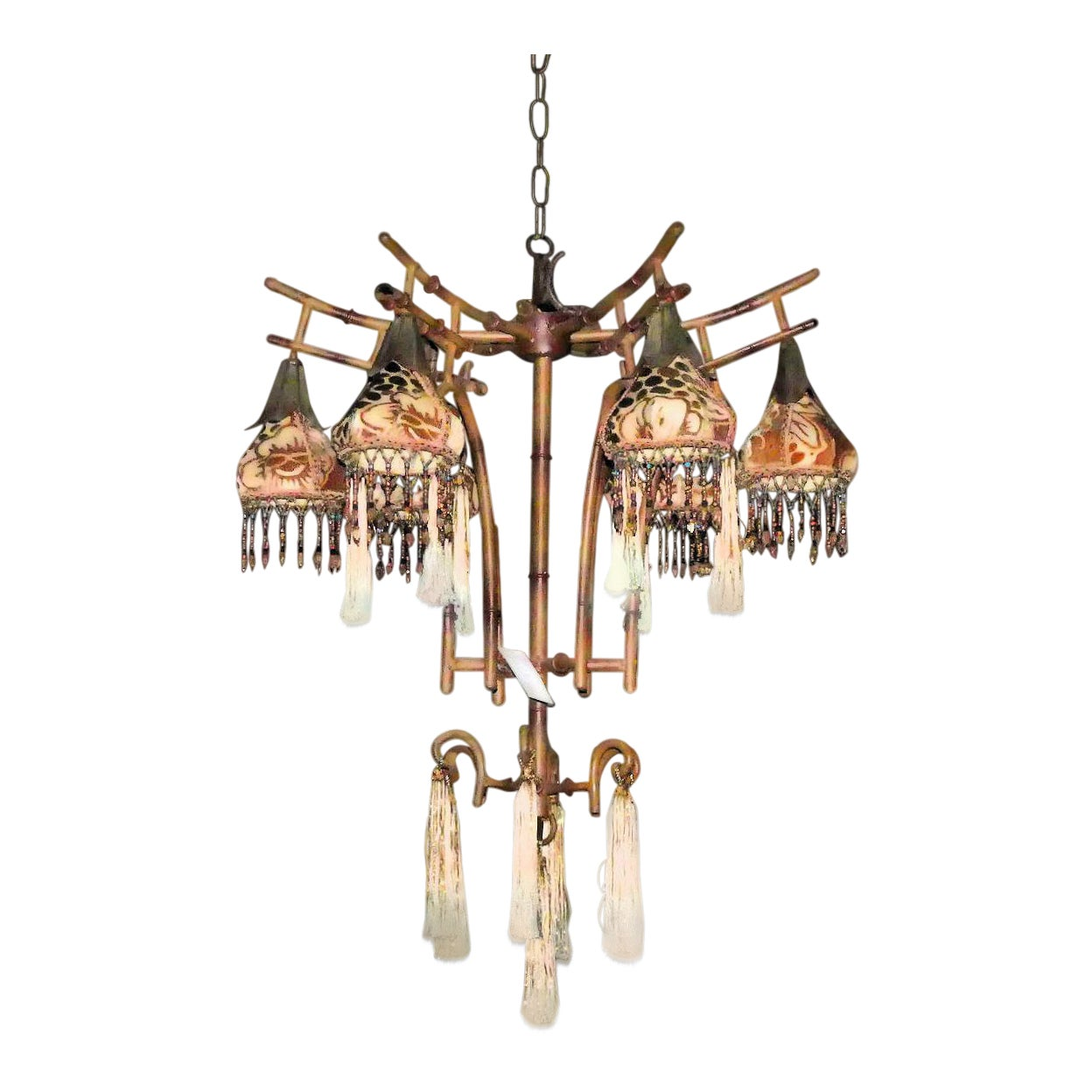 Kathleen Caid Beaded Silk & Faux Bamboo Chinoiserie 5-Light Chandelier