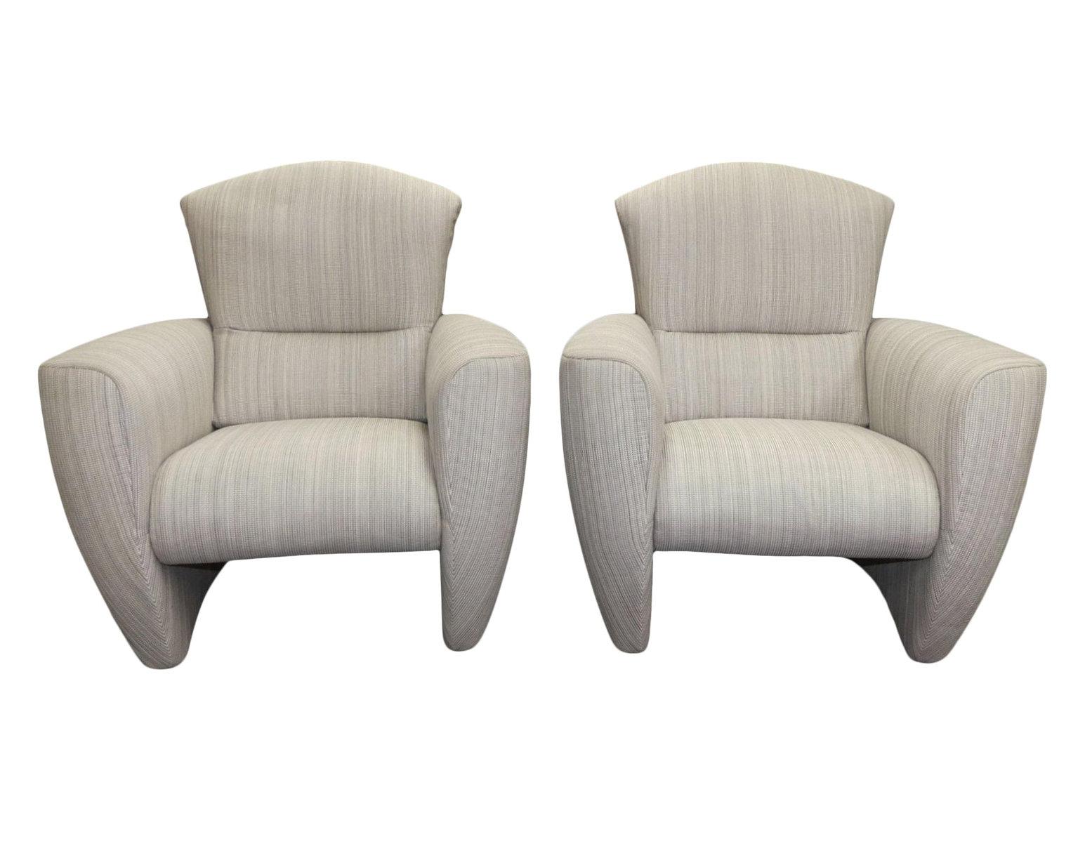 Pair of Modern Club Chairs Made in Belgium by Jori