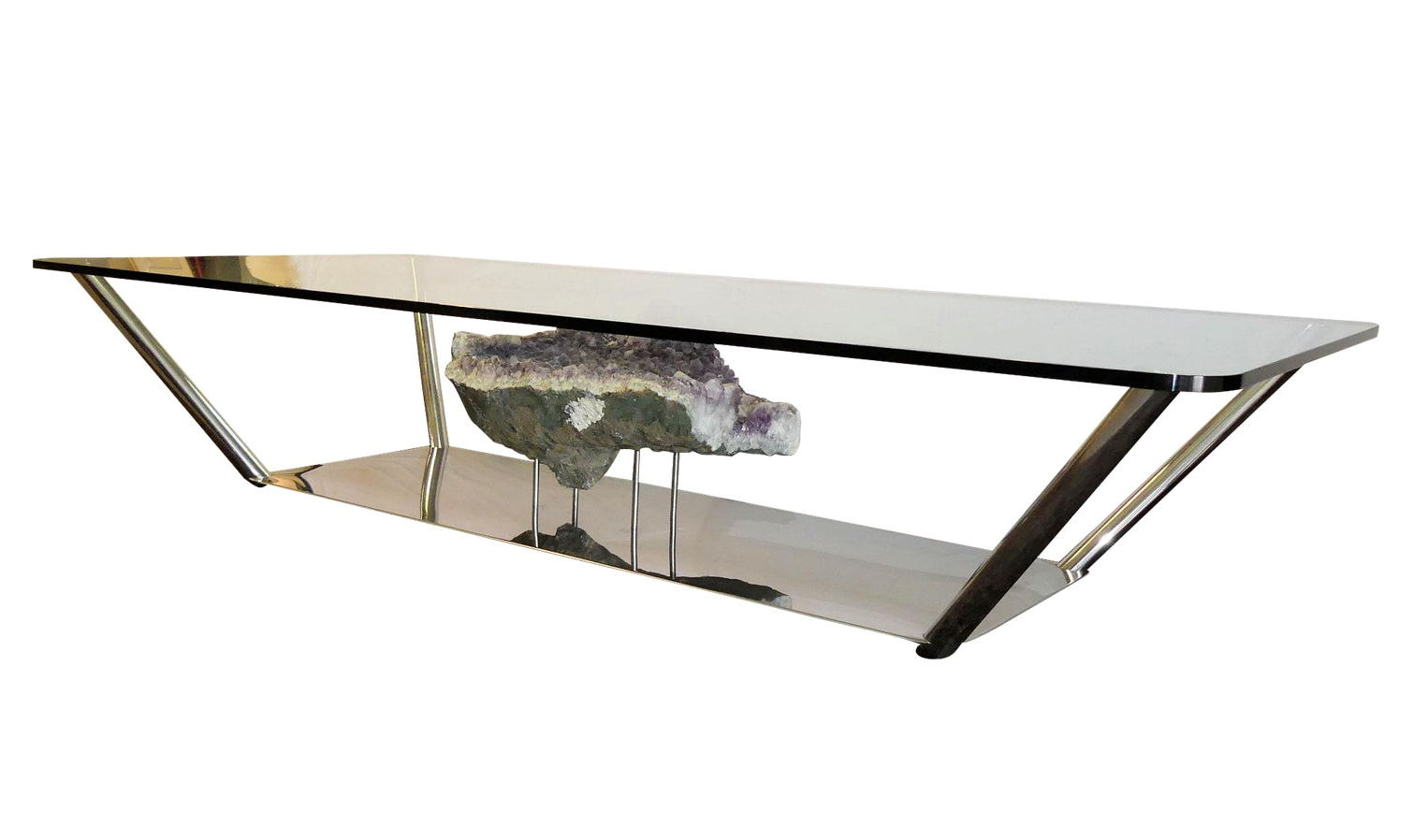 Stainless Steel Coffee Table with Large Amethyst Geode