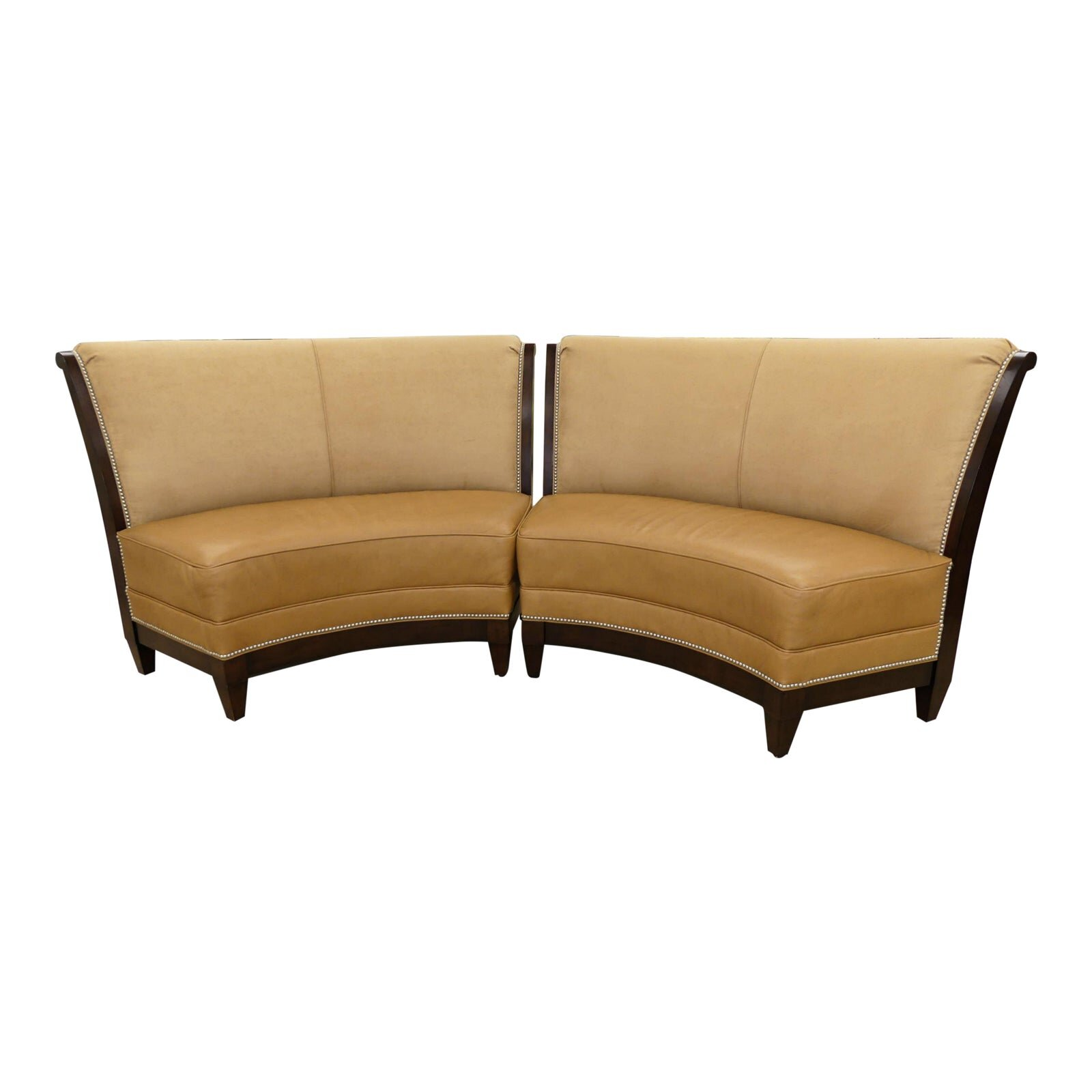 Pair of Stanford Garrett Leather & Suede Curved Benches