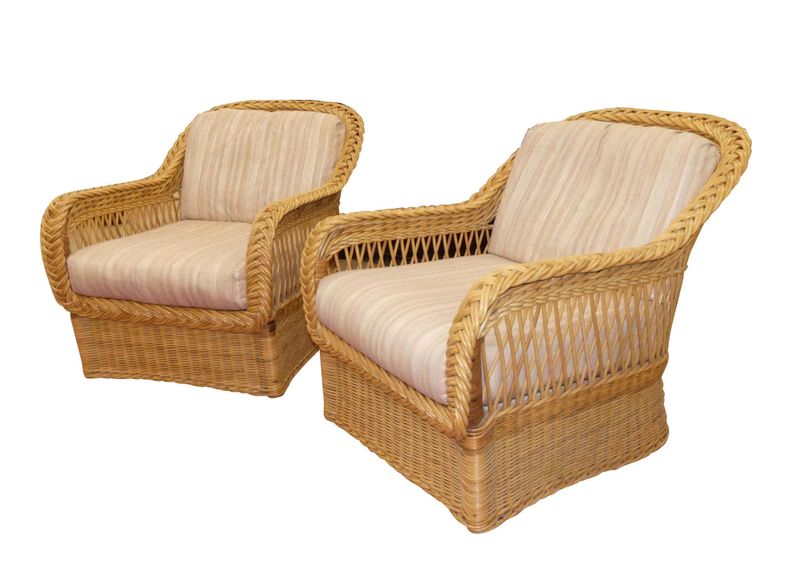 Pair of 2 Bielecky Brothers Rattan Armchairs