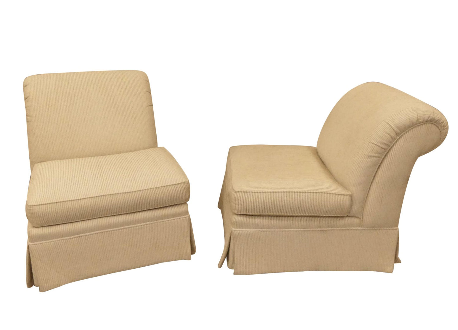 SOLD Sherrill Rolled Back Armless Slipper Chairs