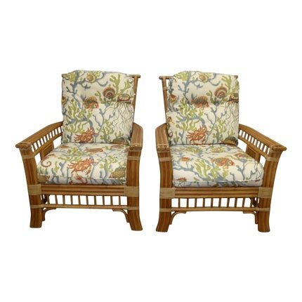 Pair of Coastal Creations Rattan Lounge Chairs