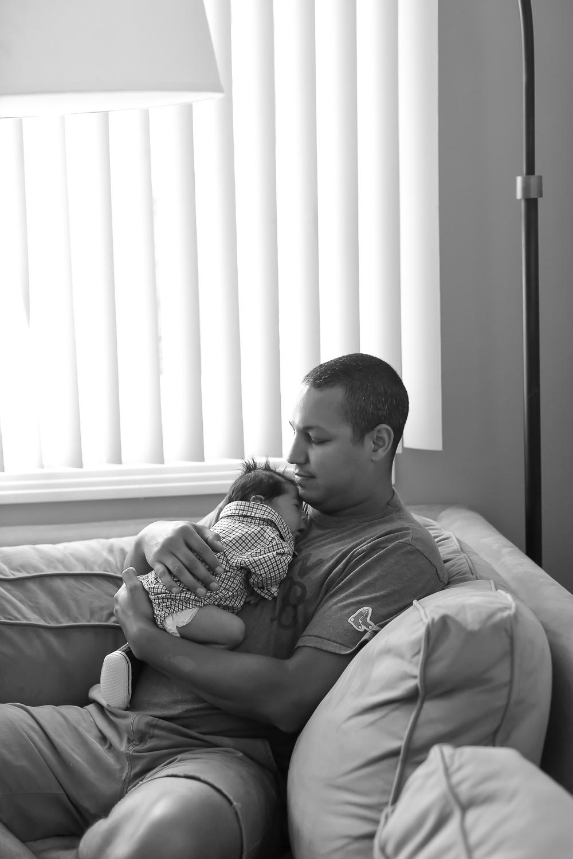 Costa Mesa Newborn Lifestyle Portraits, Orange County Family Photos, Daddy's first teddy bear, Gina Holt Photography, Family Photography, Father and Son moments