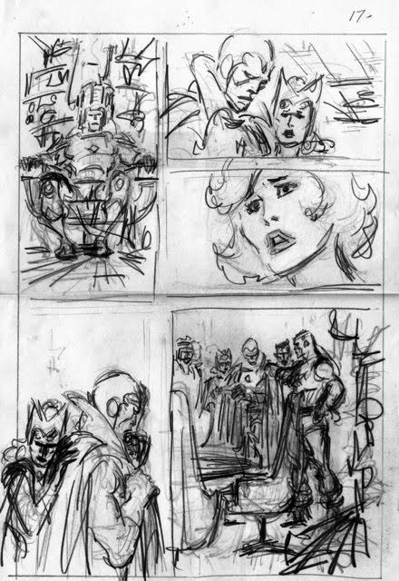 John Buscema rough layout for Avengers, featuring the Vision and the Scarlet Witch