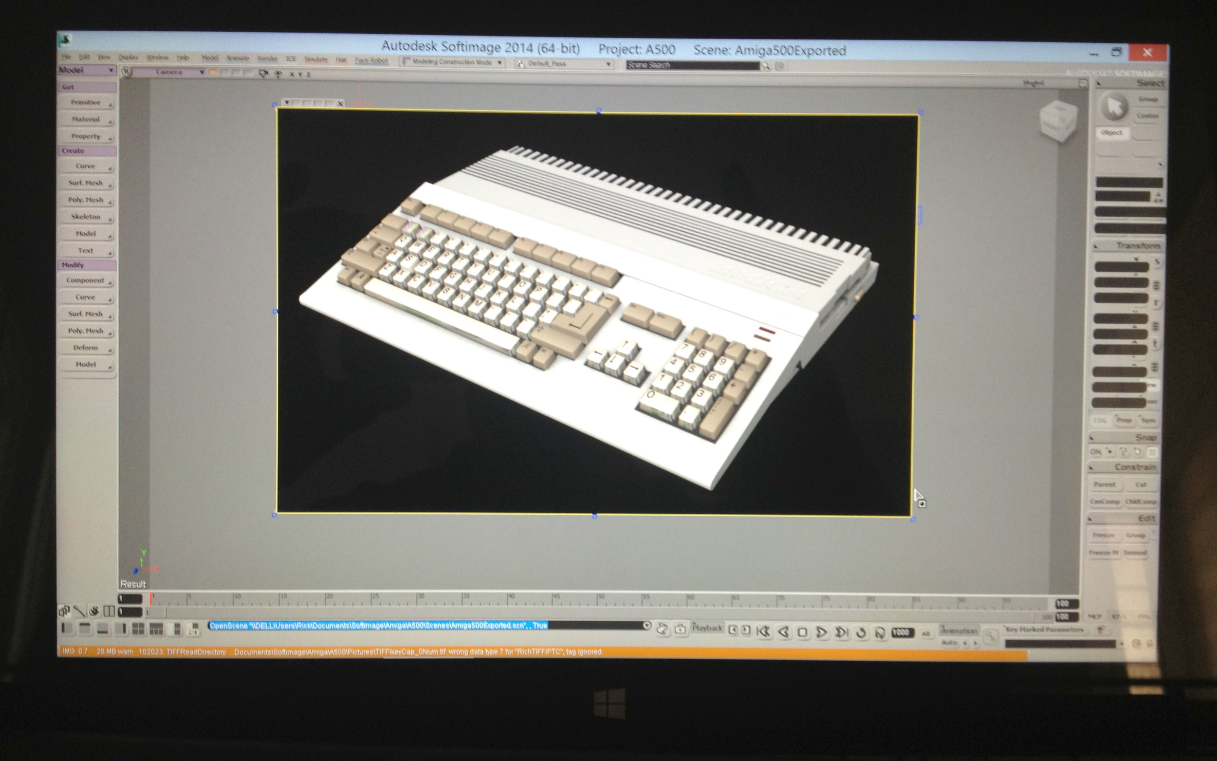 The Amiga 500, modeled and region rendered in Softimage 2014 on the Surface Pro. Mental Ray, full anti-aliasing, two lights, 27,000 triangles, 110 objects, 95 textures and the Surface Pro didn't even break a sweat.