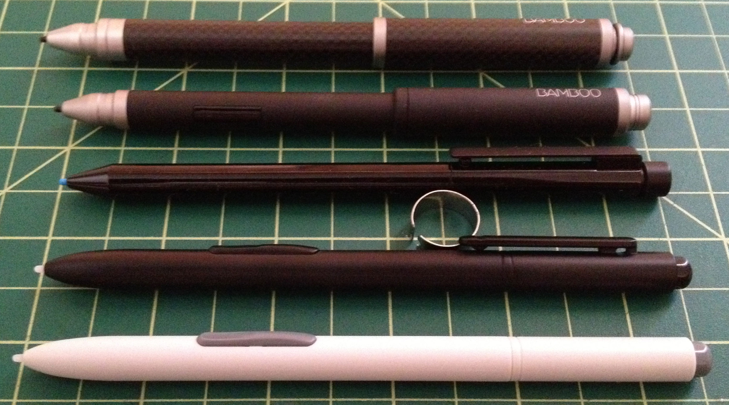 Never mind the lens distortion: the Bamboo Stylii are signifcantly larger than the standard, Samsung or Wacom options.