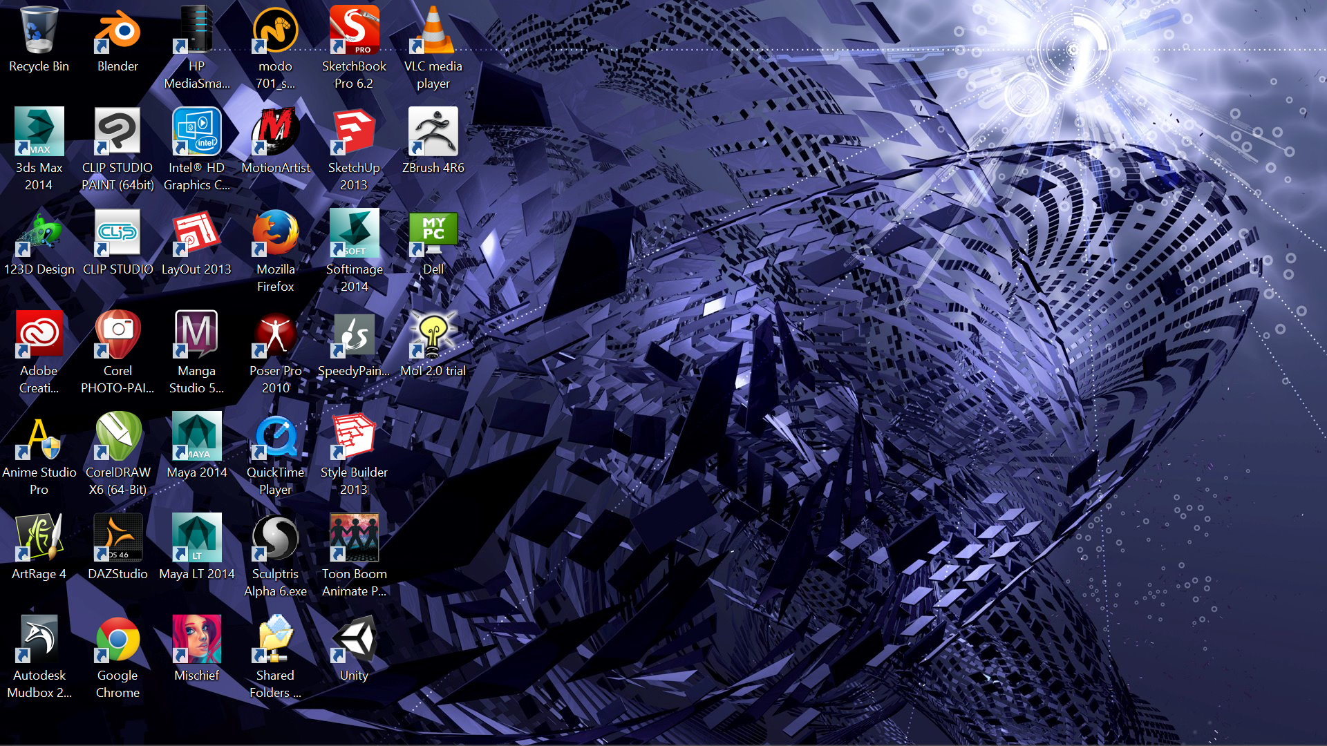The Windows 8.1 desktop displaying a background from one of the new themes available for download.