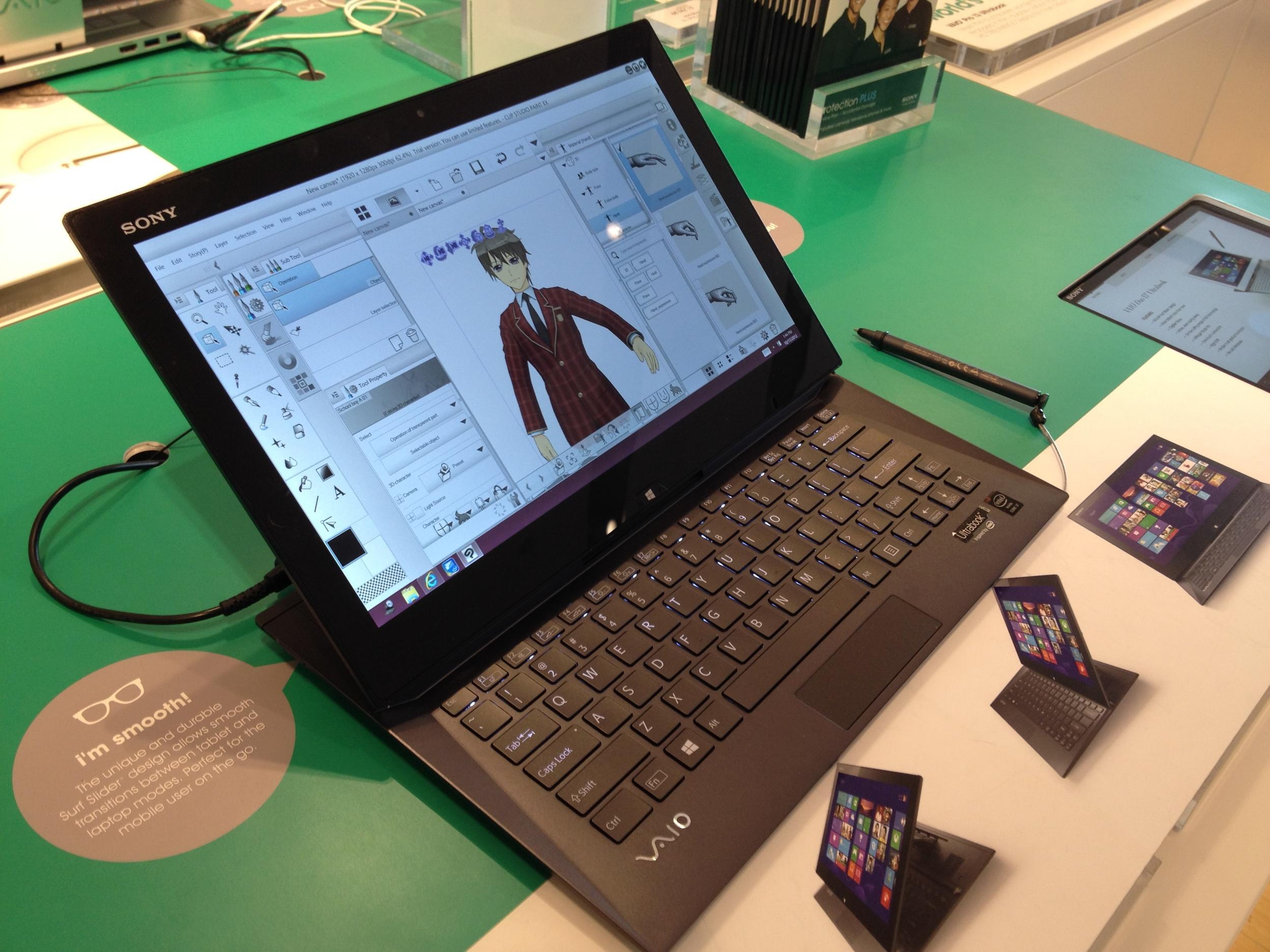 Sony VAIO Duo 13 running Clip Studio Paint 1.2.7. Wacom digitizer isn't missed at all.