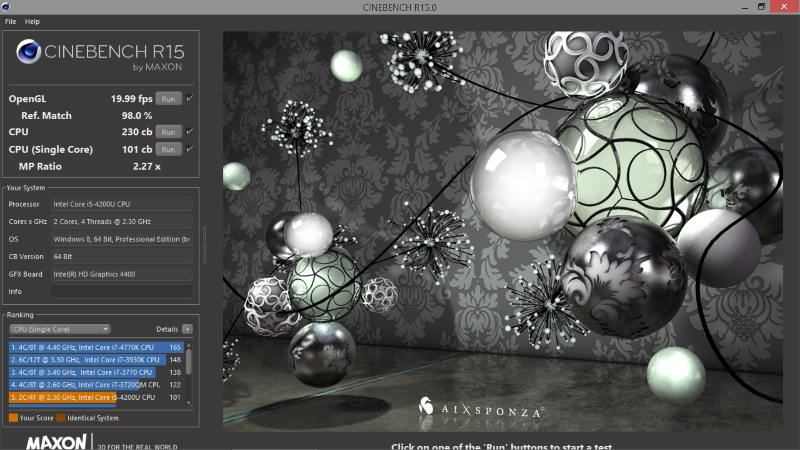 Surface Pro 2 Cinebench R15 results