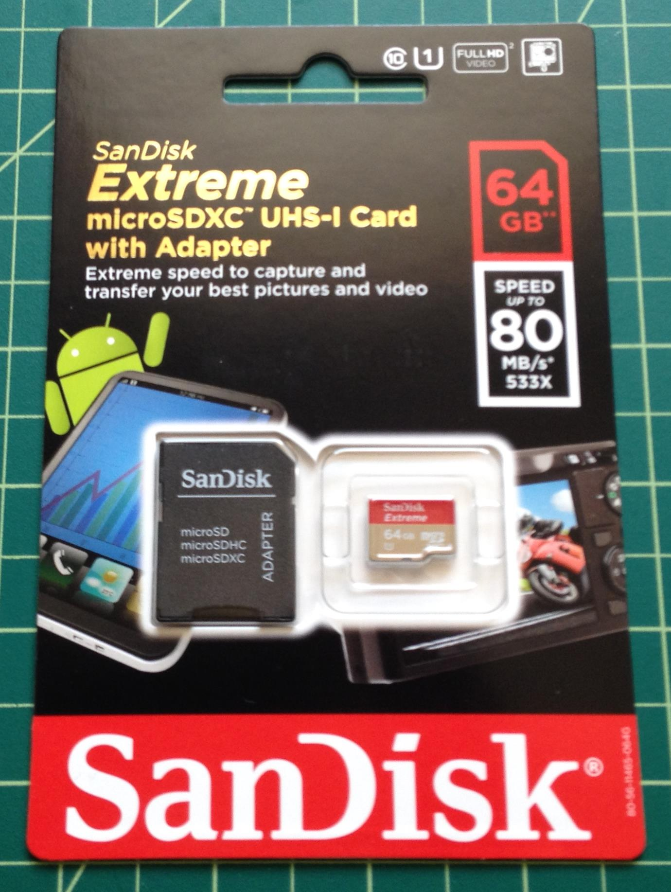 64 GB SanDisk Extreme microSDXC UHS-I Card with Adapter
